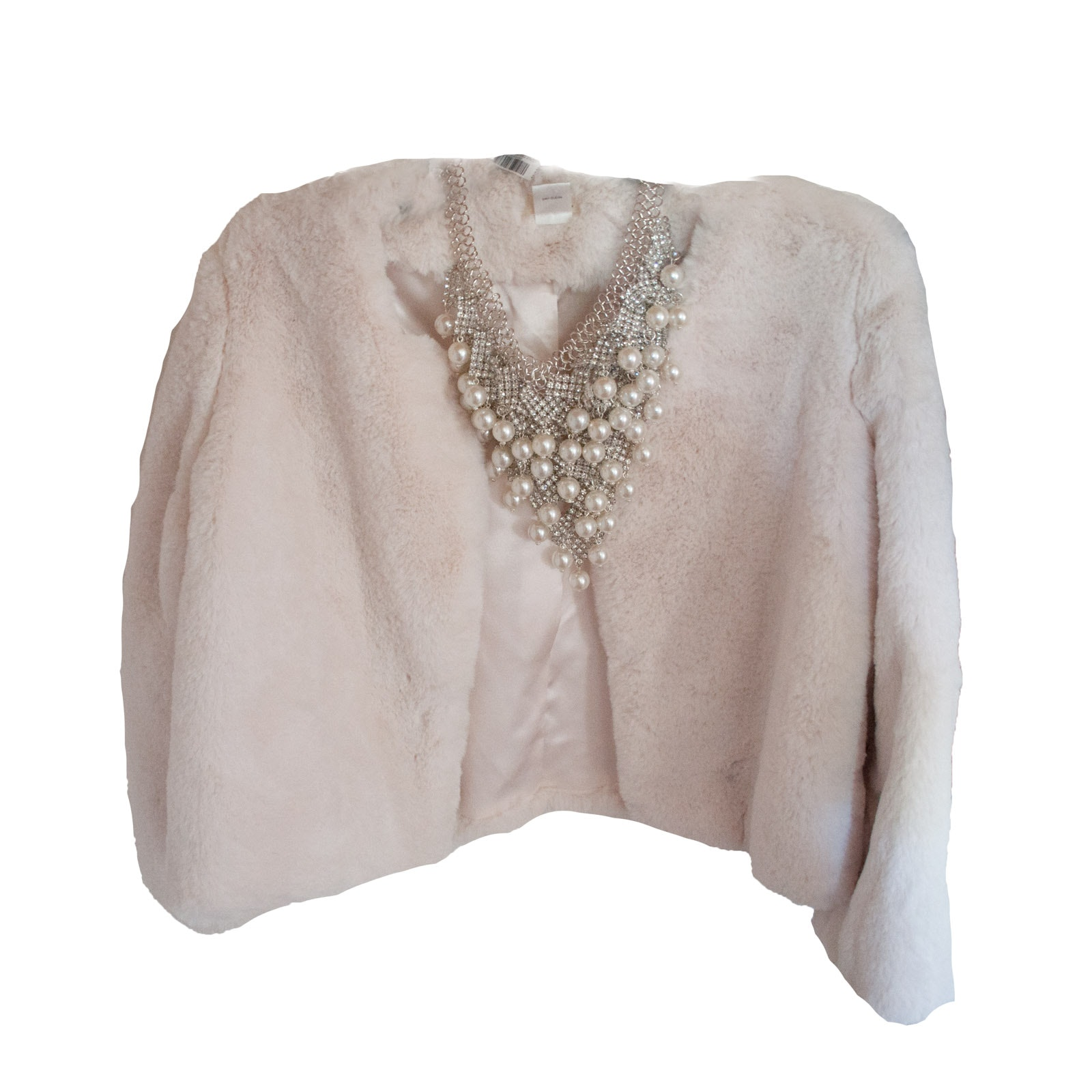 Ruyi Faux Fur Evening Jacket with Necklace