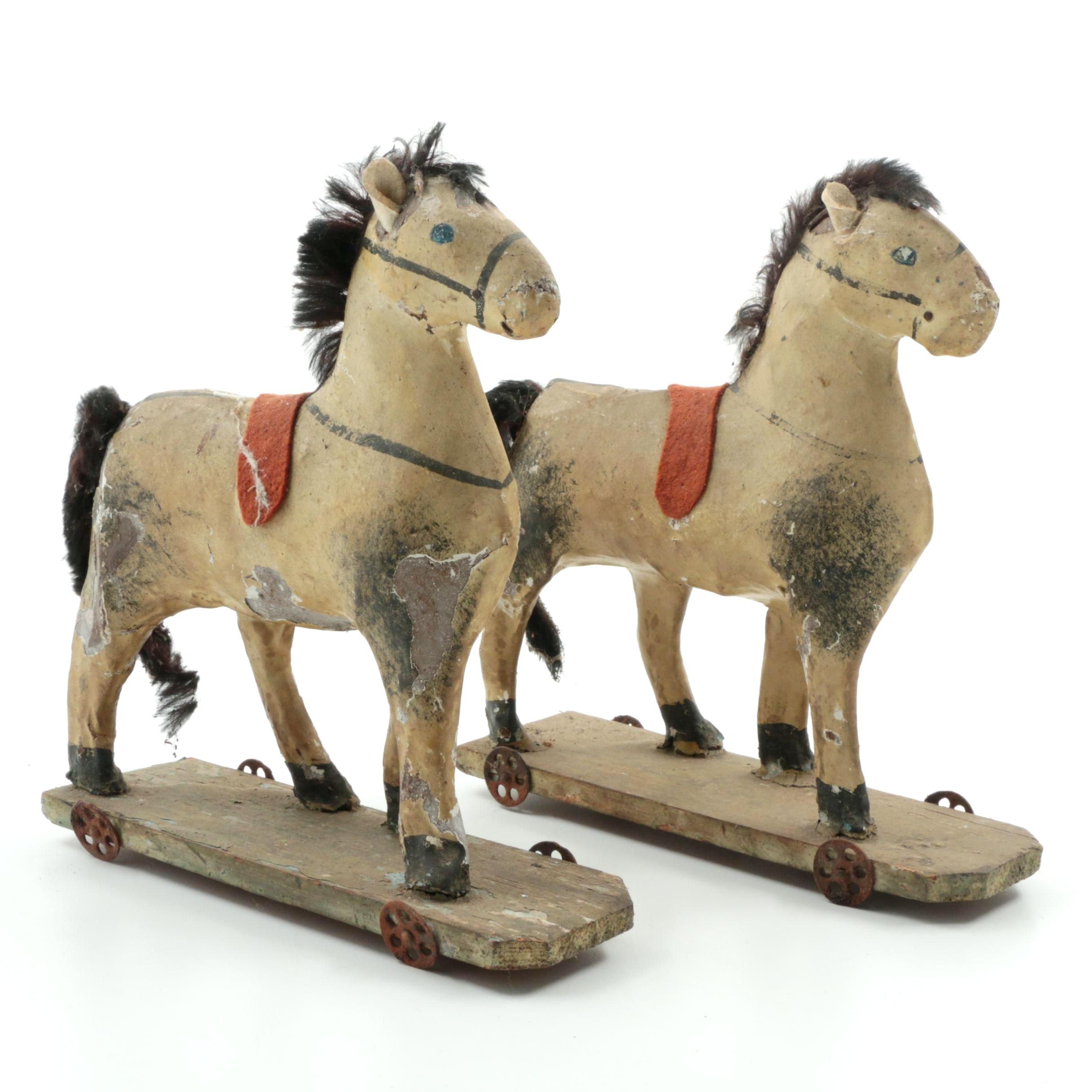 Two Antique Pony Toys