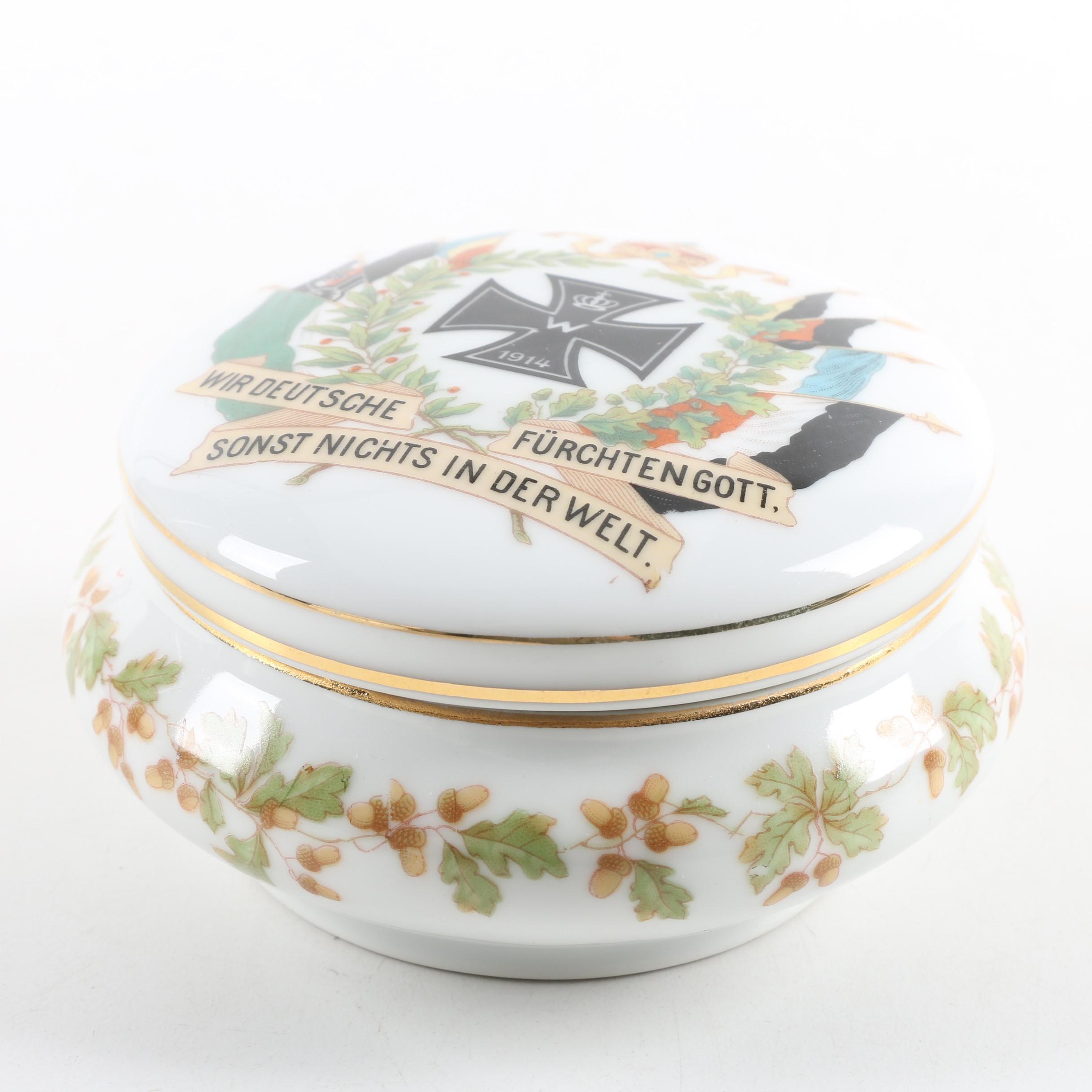 Antique Z. S. & Co. Bavarian WWI Military Themed Porcelain Trinket Box