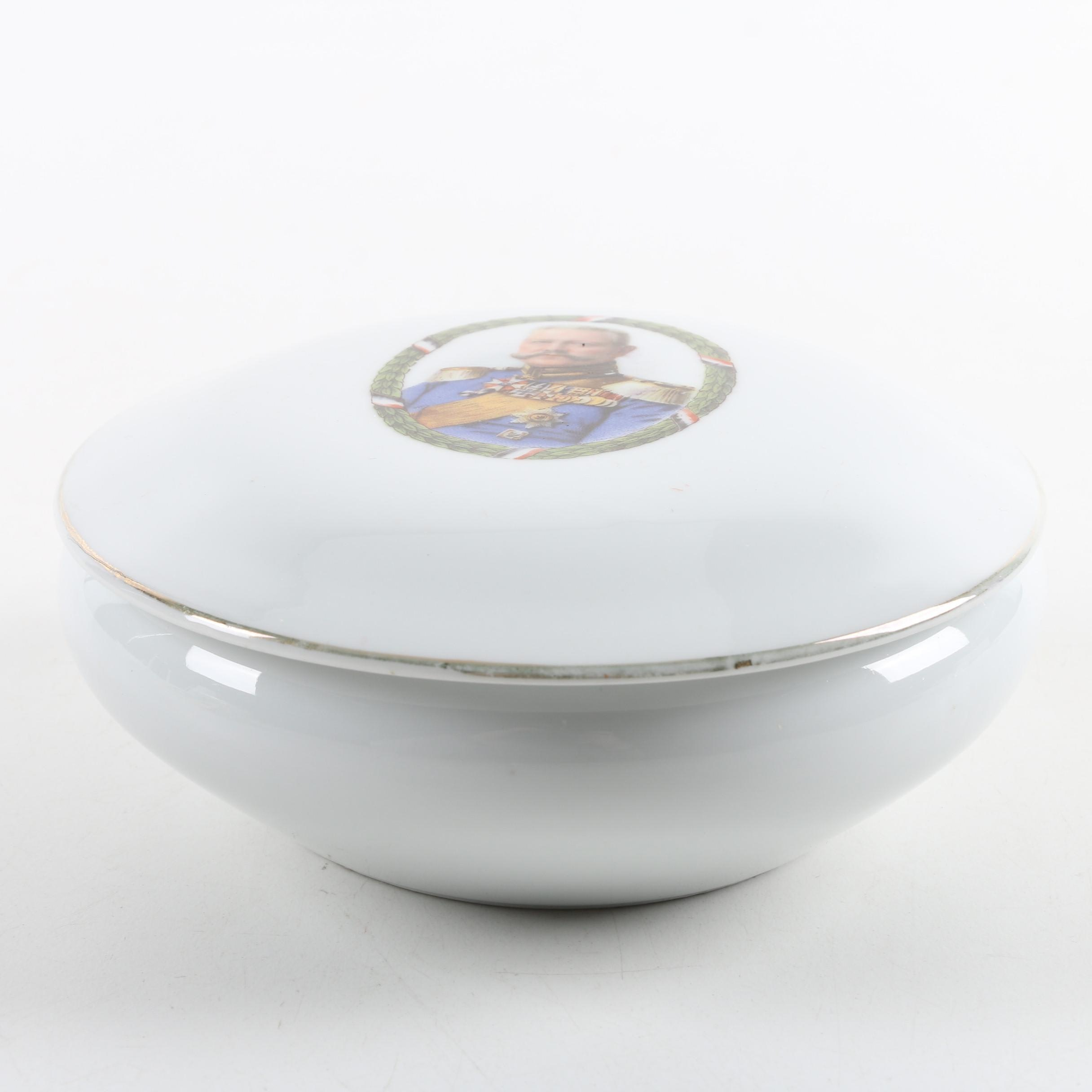 WWI Era German Paul von Hindenburg Porcelain Trinket Box