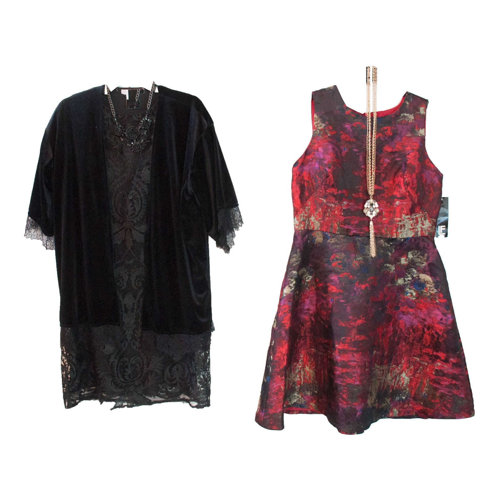 Leslie Fay Cocktail Dresses with BCBG Cardigan and Necklace