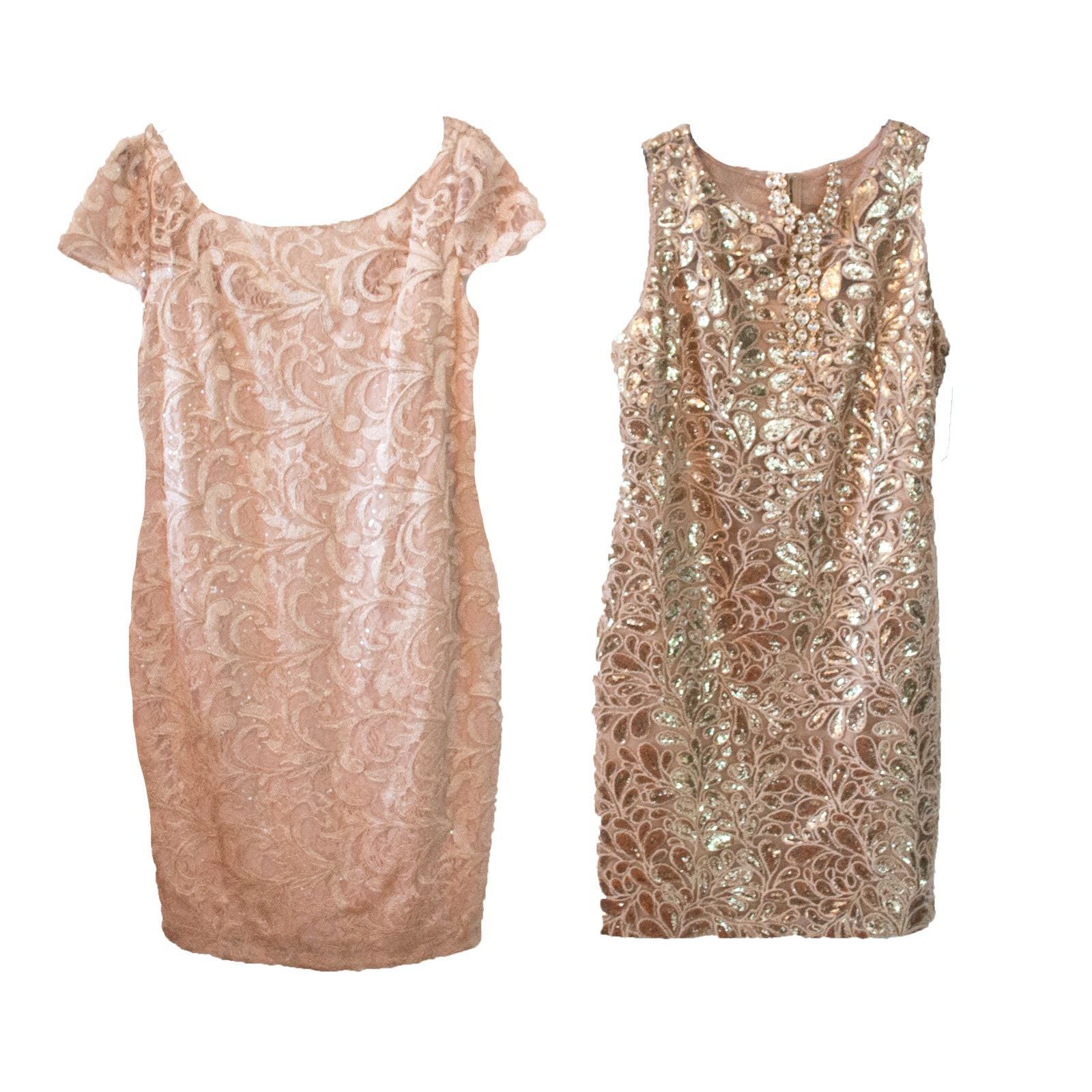 Calvin Klein Sequined Cocktail Dresses with Necklace