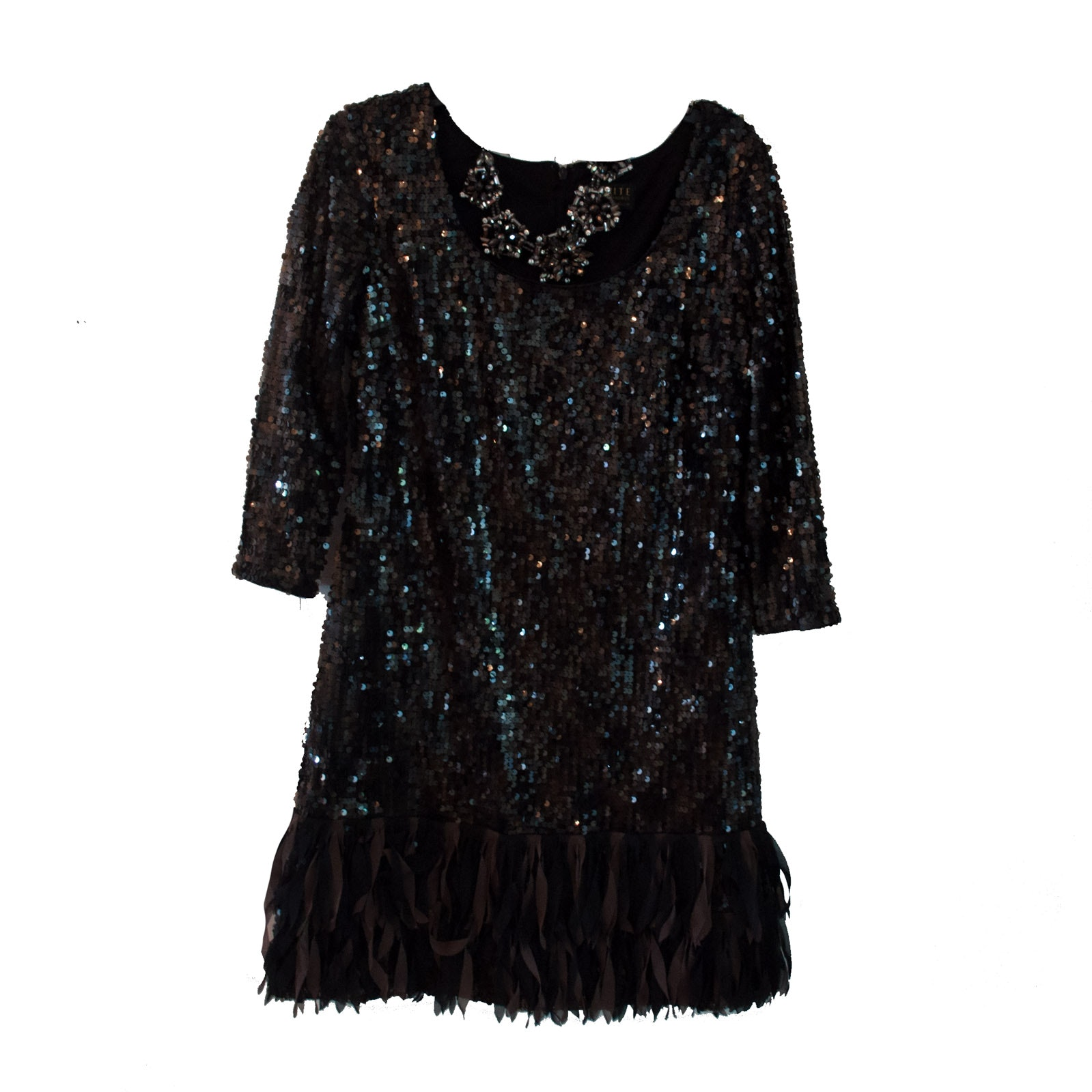 Ignite Sequined Cocktail Dress with Necklace