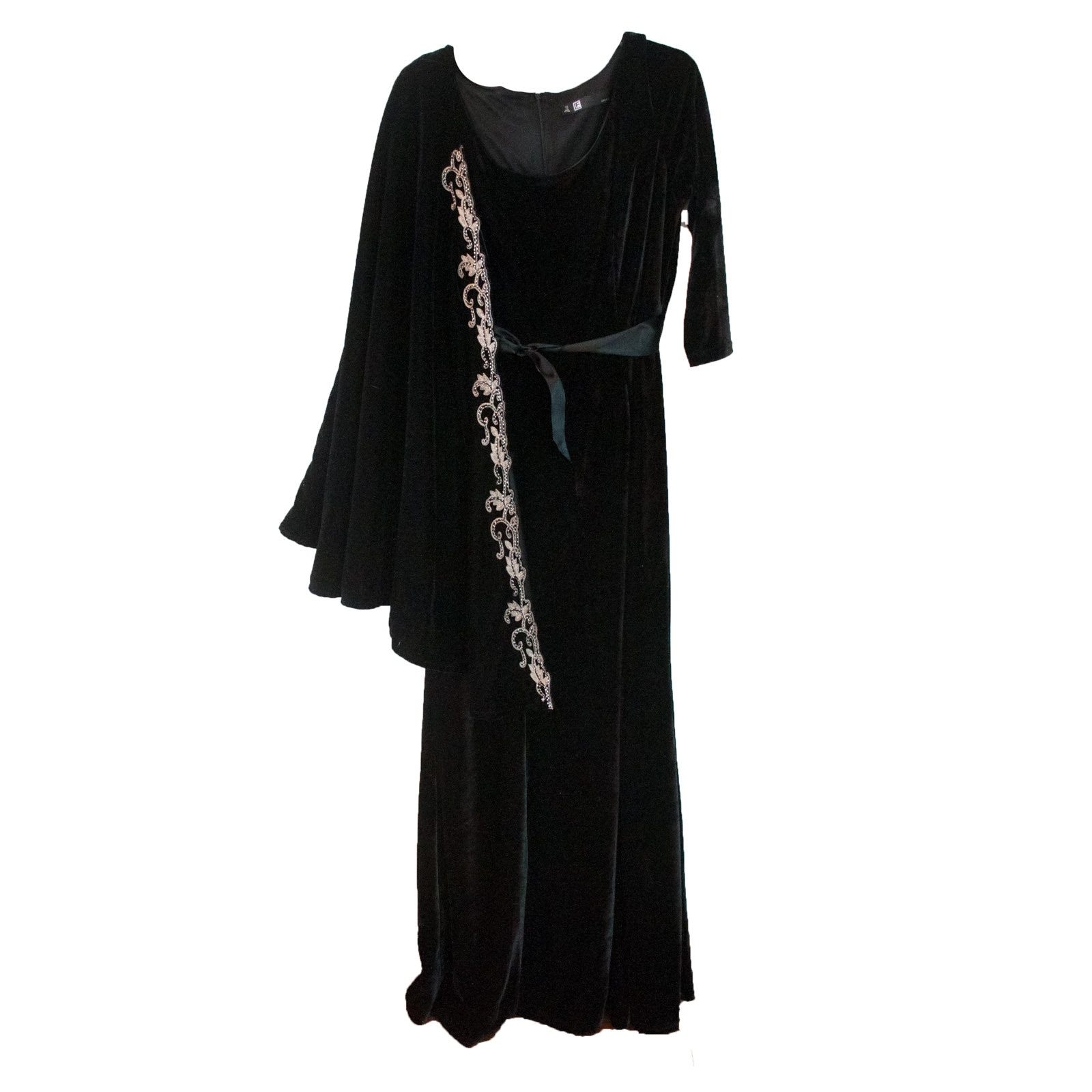 Leslie Fay Black Velvet Gown with Beaded Cardigan by Reba