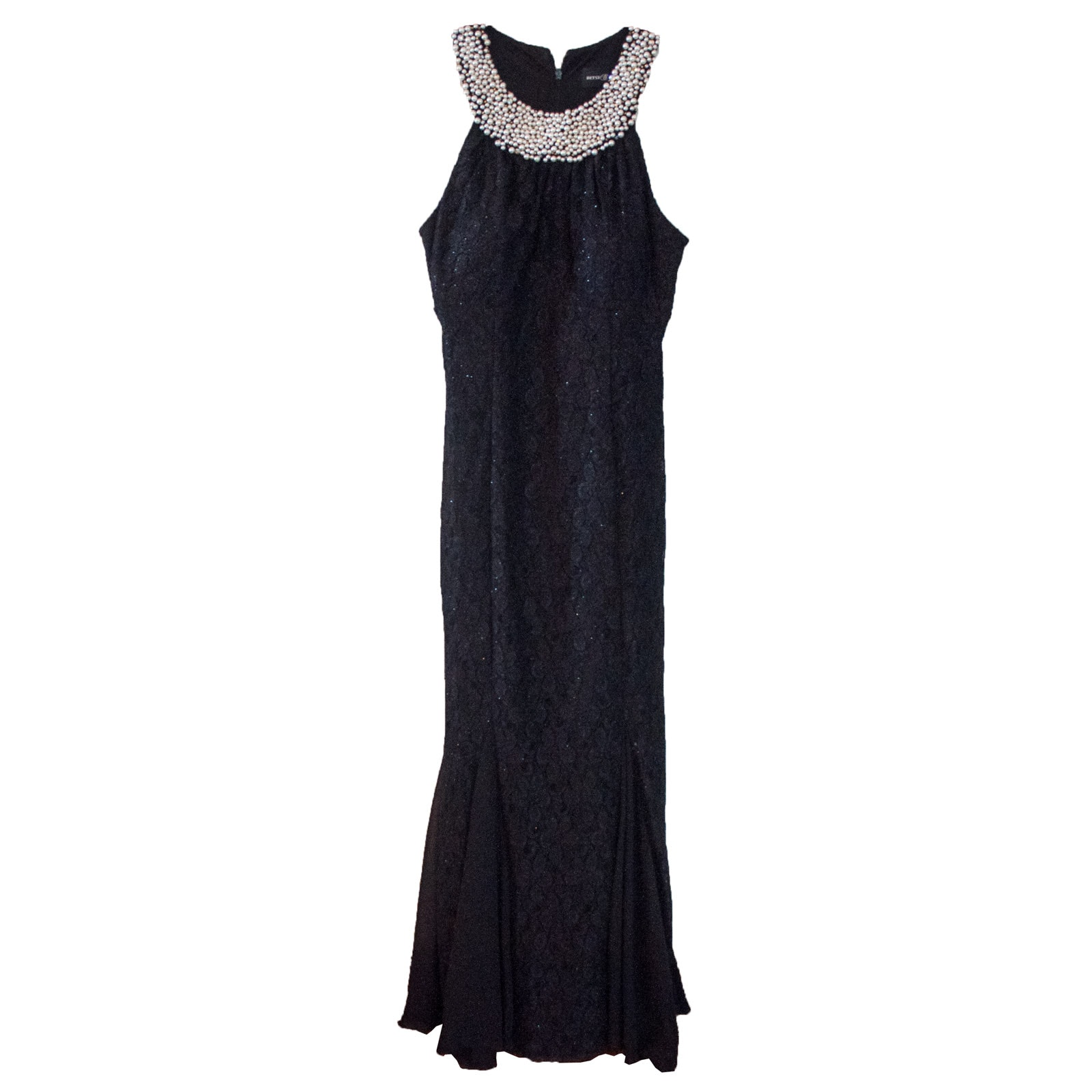 Betsy Adam Black Sleeveless Evening Gown with Beaded Neckline