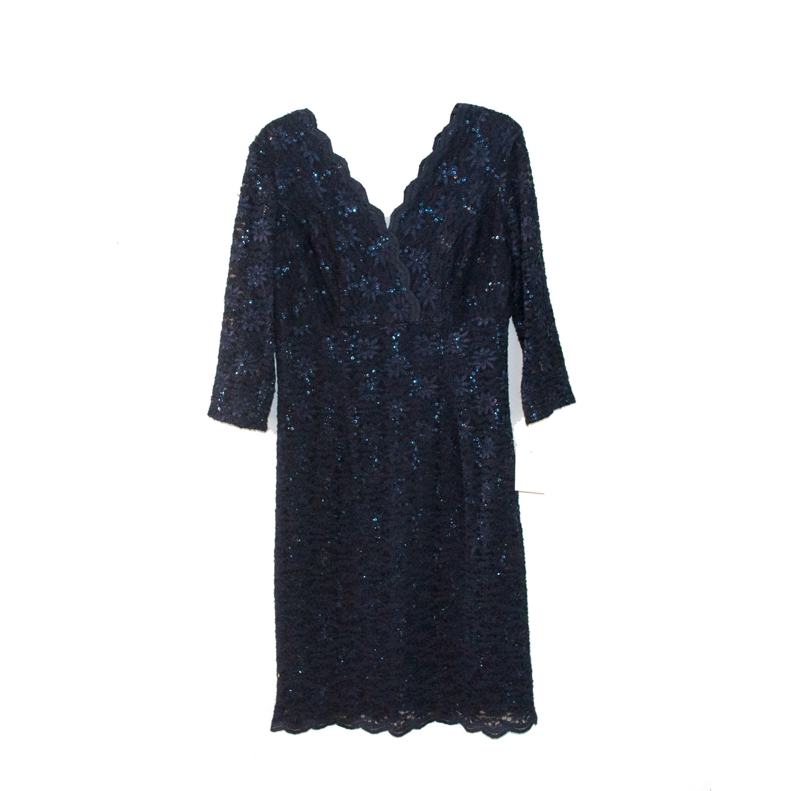 Alex Evenings Navy Blue Lace and Sequin Dress