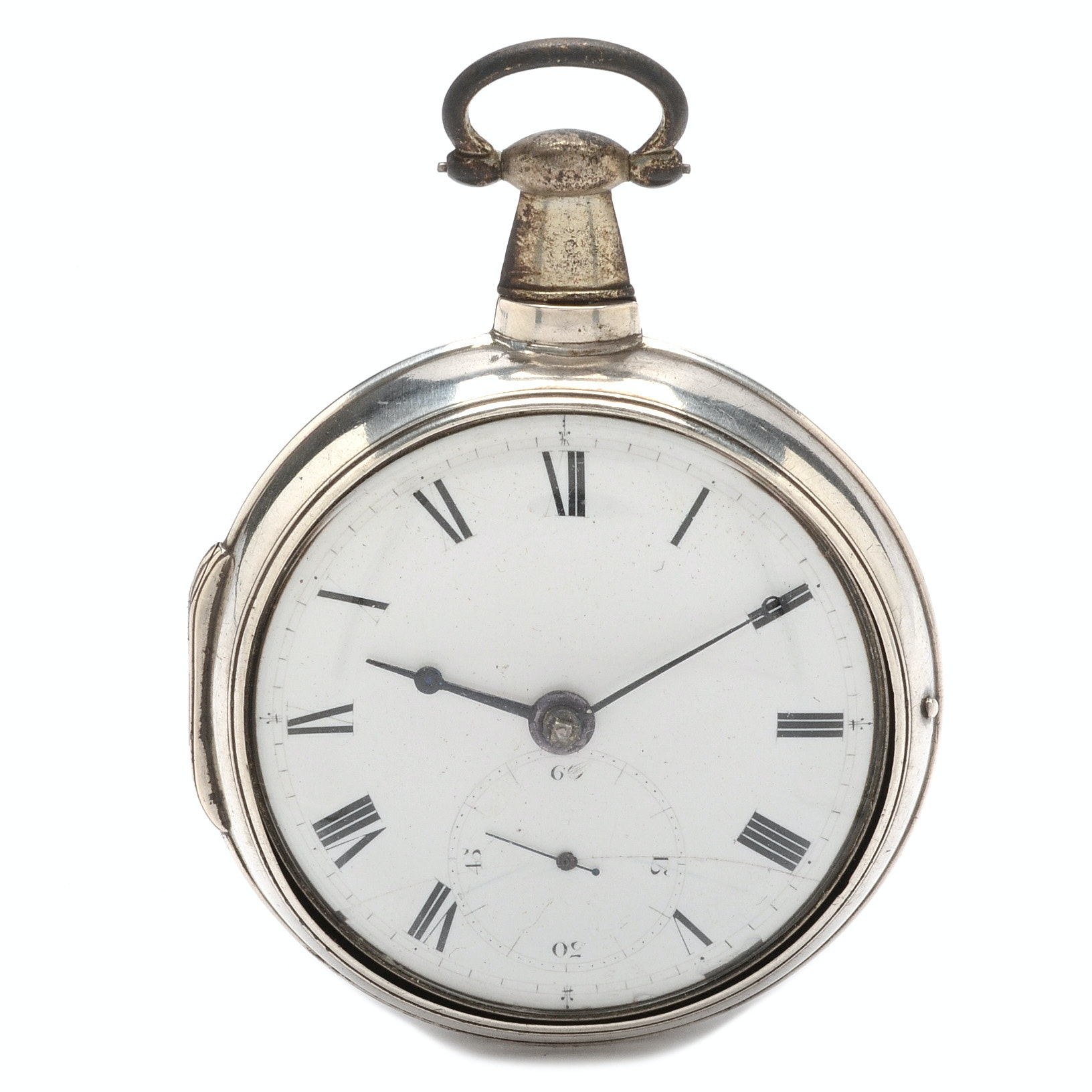 Antique Sterling Silver Double Case Pocket Watch
