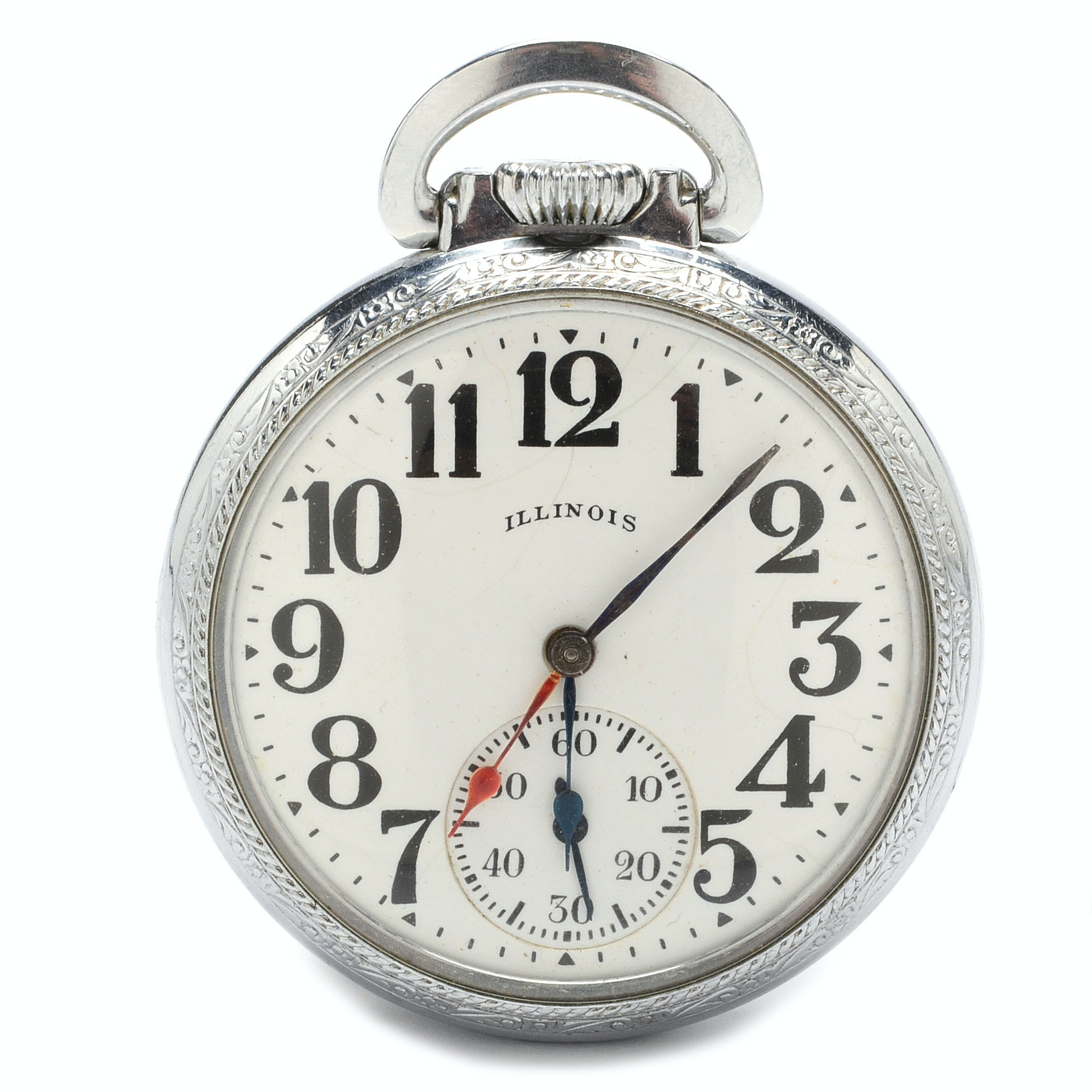 1919 Illinois Dual Time Zone Open Face Pocket Watch