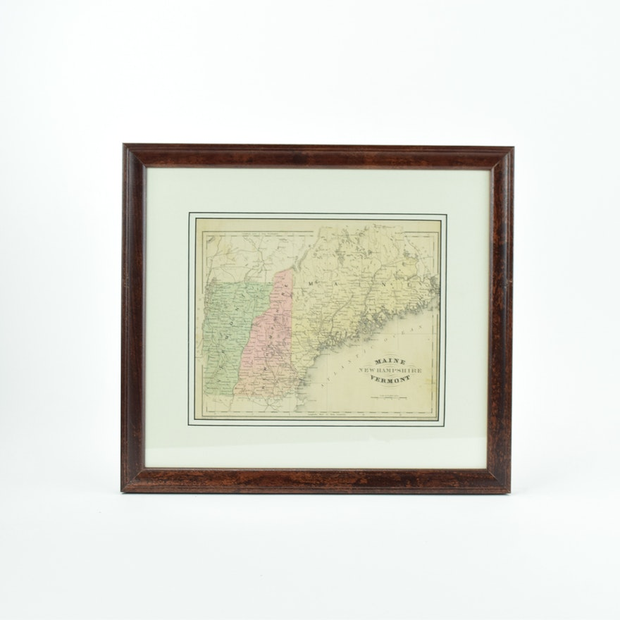 1876 Map of Maine, New Hampshire and Vermont : EBTH