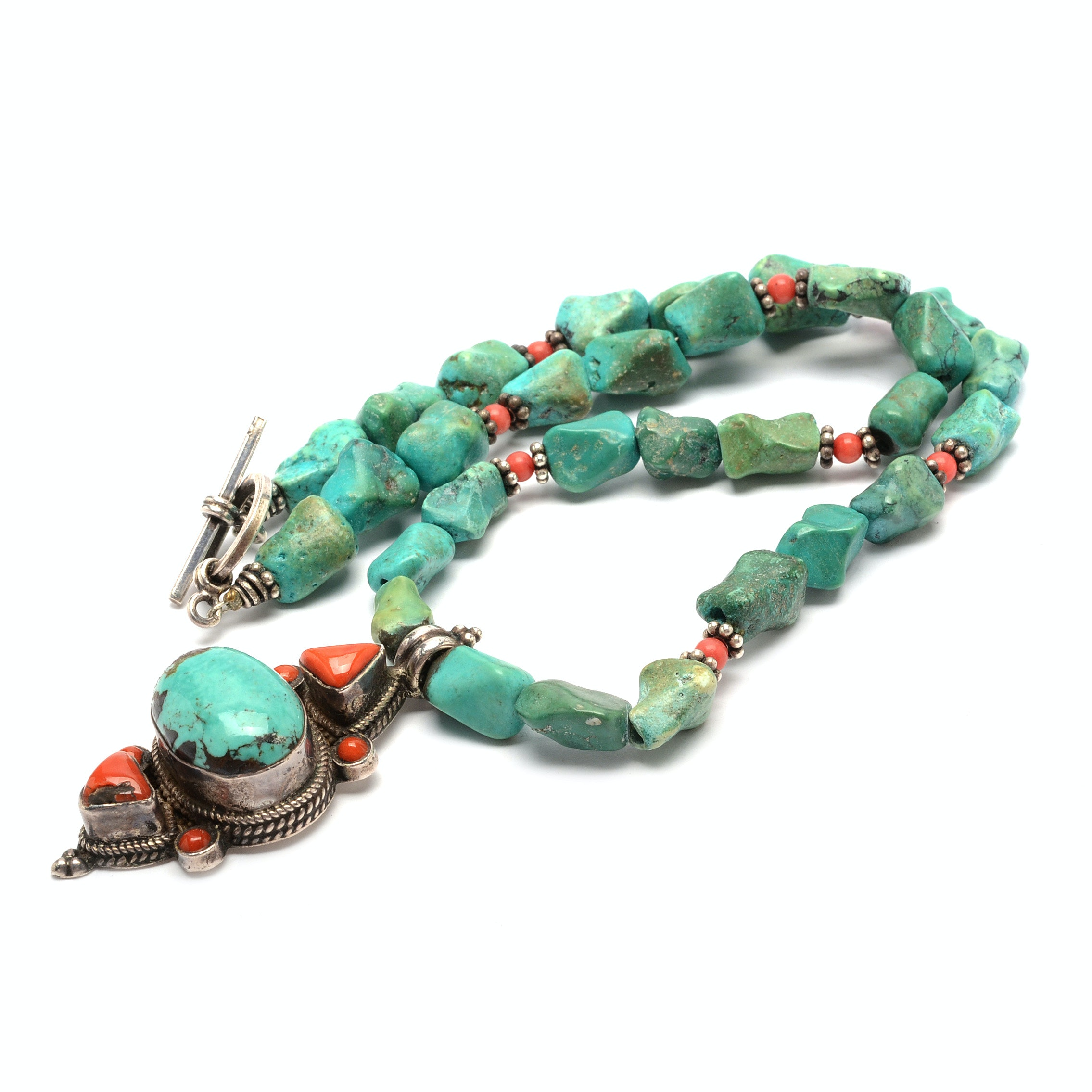 Sterling Silver Turquoise and Coral Necklace