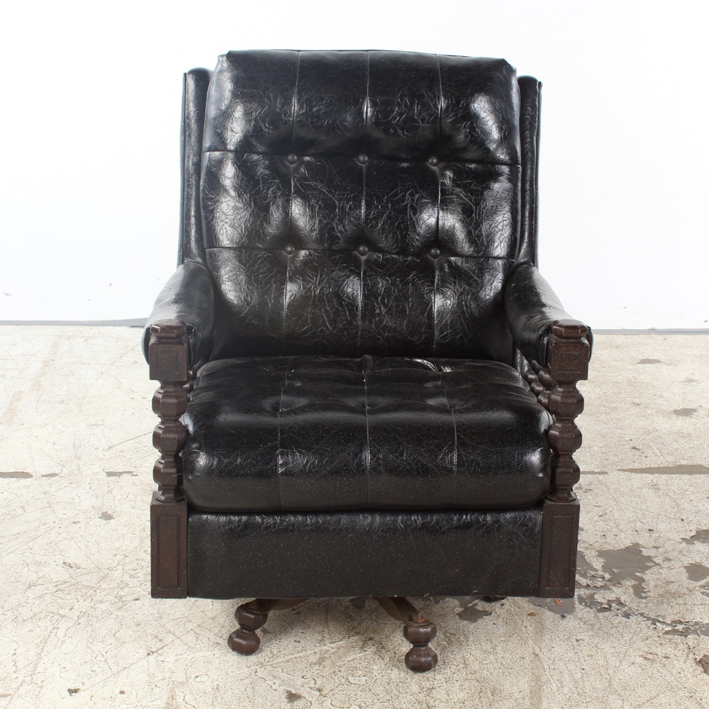 Vintage Black Vinyl Upholstered Swivel Armchair