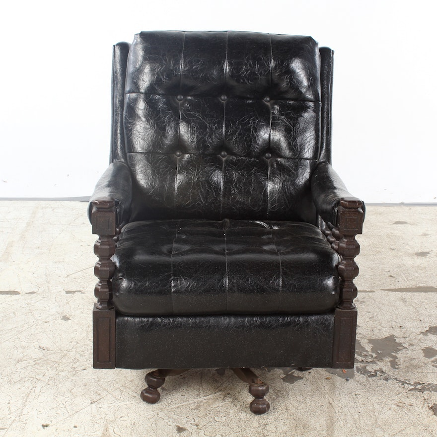 Vintage Black Vinyl Upholstered Swivel Armchair | EBTH