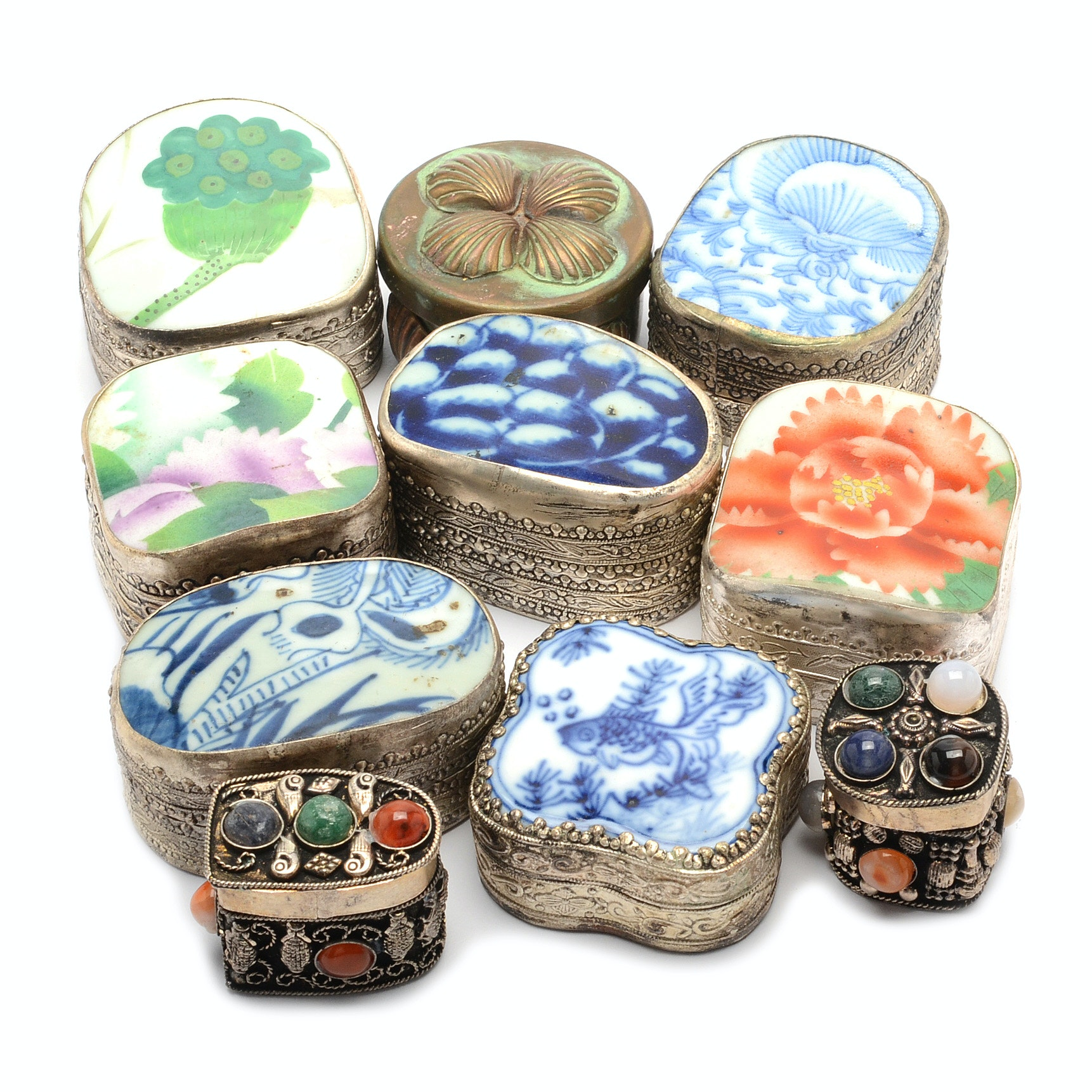 Assortment of Decorative Asian Style Trinket Boxes