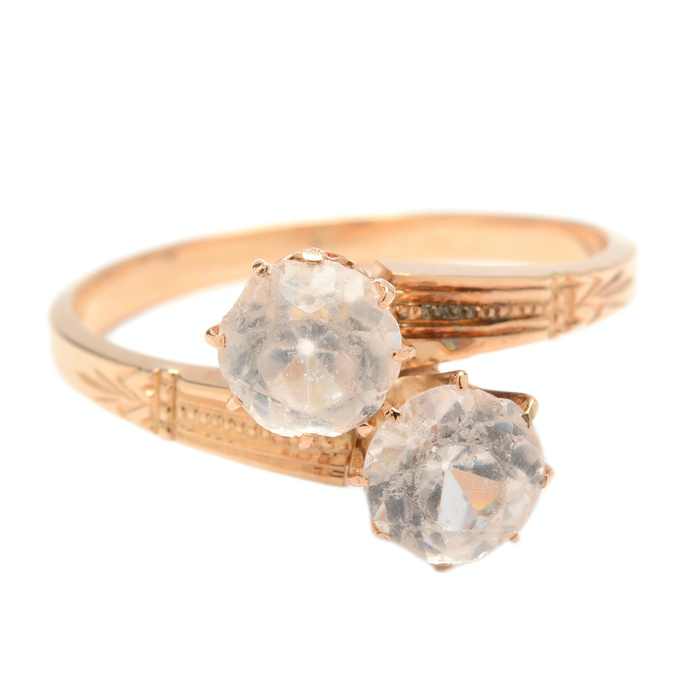 Vintage 14K Yellow Gold Clear Glass Stone Ring