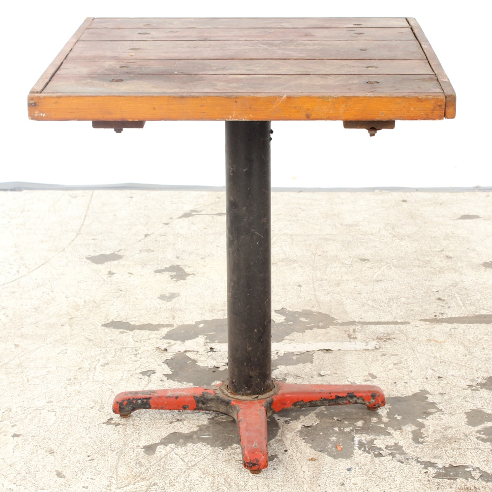 Vintage Pine Top Pub Table with Metal Pedestal