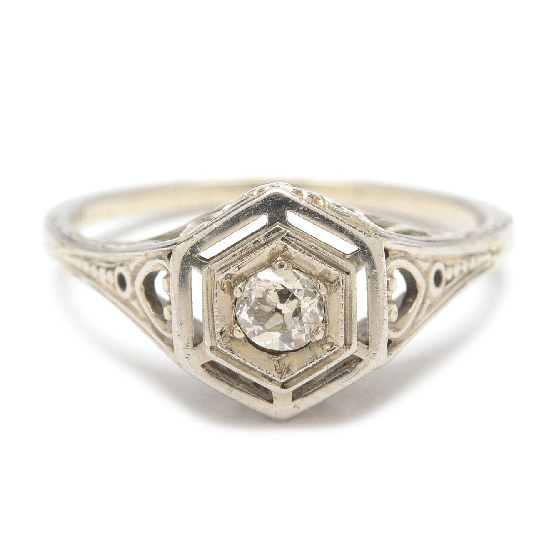 Antique 18K White Gold Diamond Ring