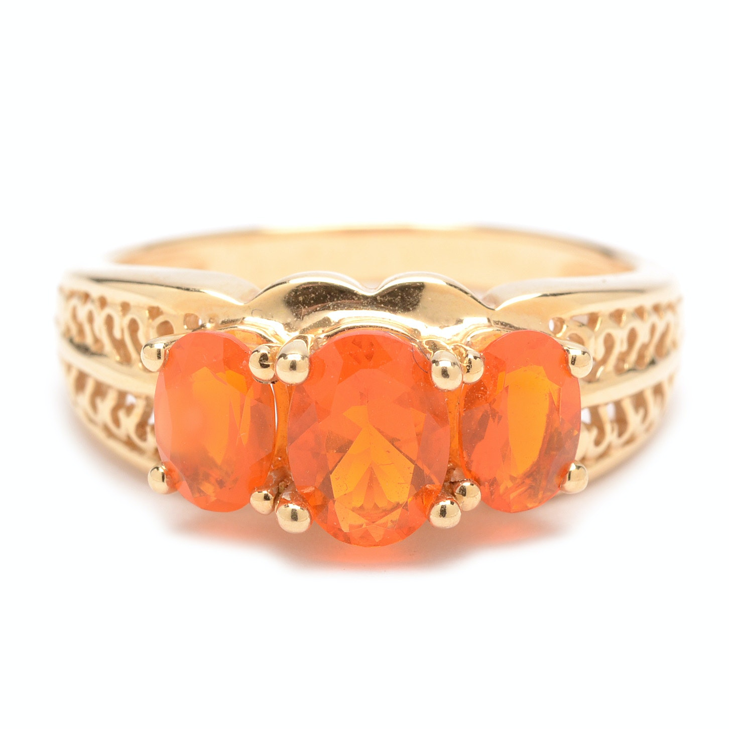 14K Yellow Gold Fire Opal Ring