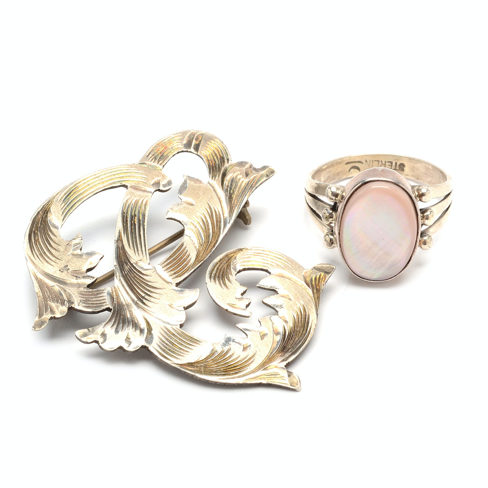 Sterling Silver Brooch and Mother of Pearl Ring