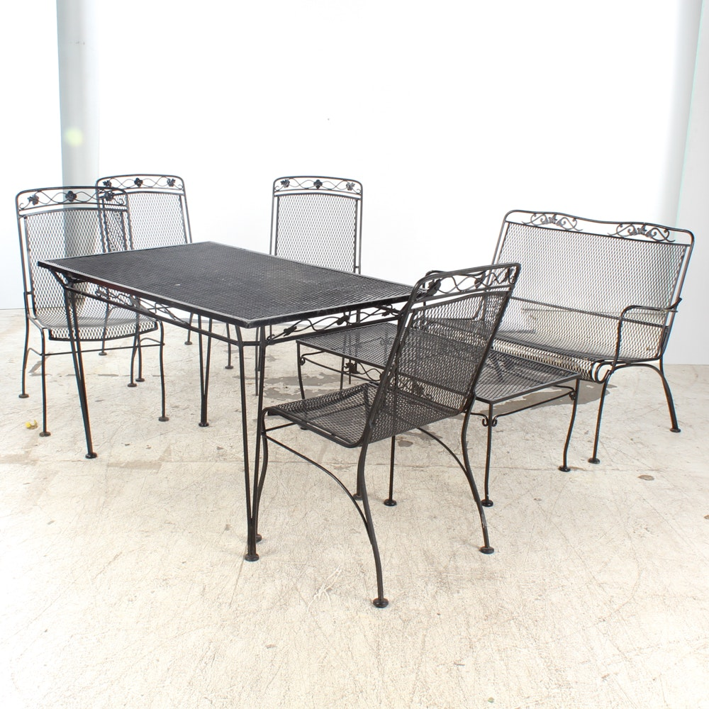 Seven-Piece Wrought Iron Patio Furniture Set