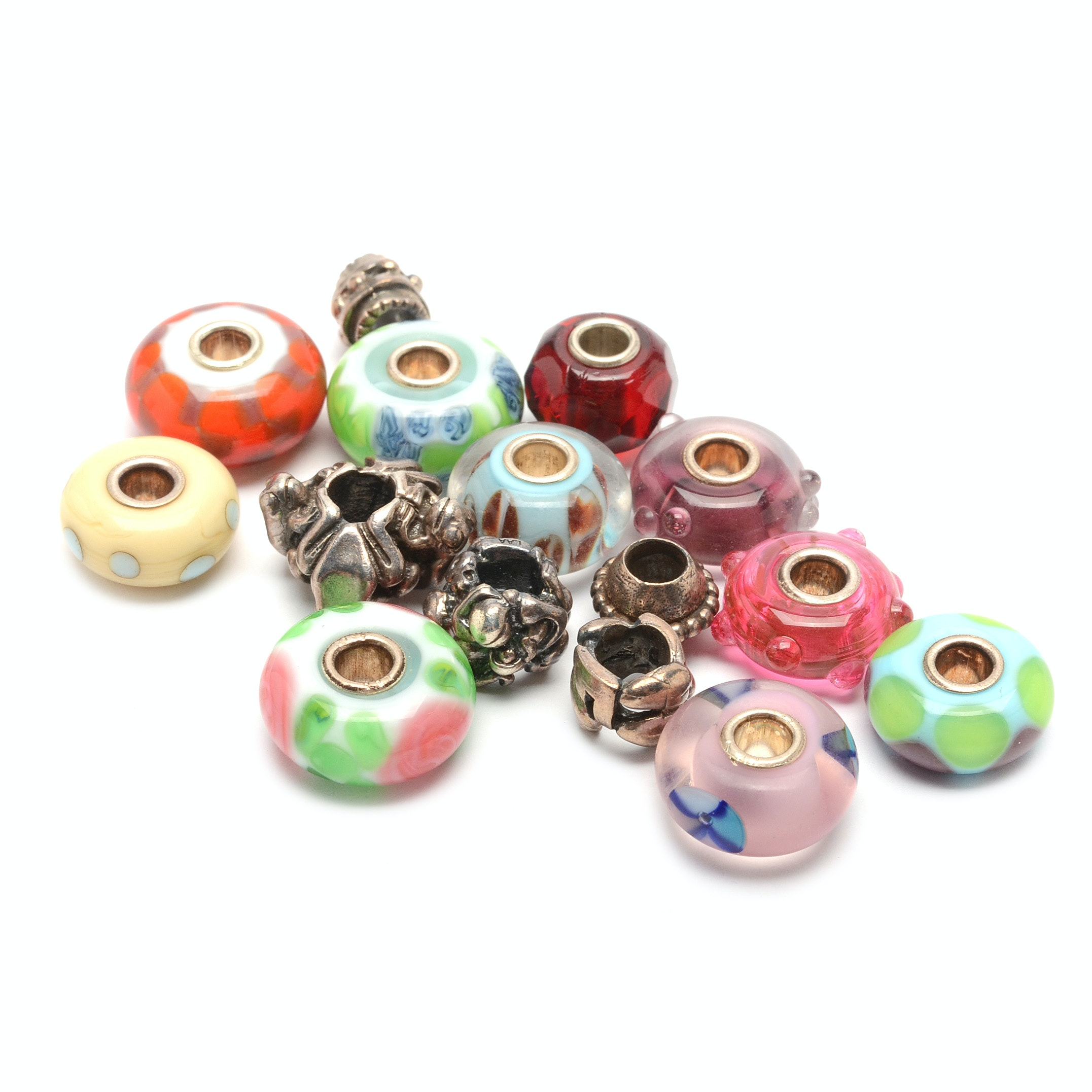 Trollbeads Sterling Silver and Colorful Glass Beads