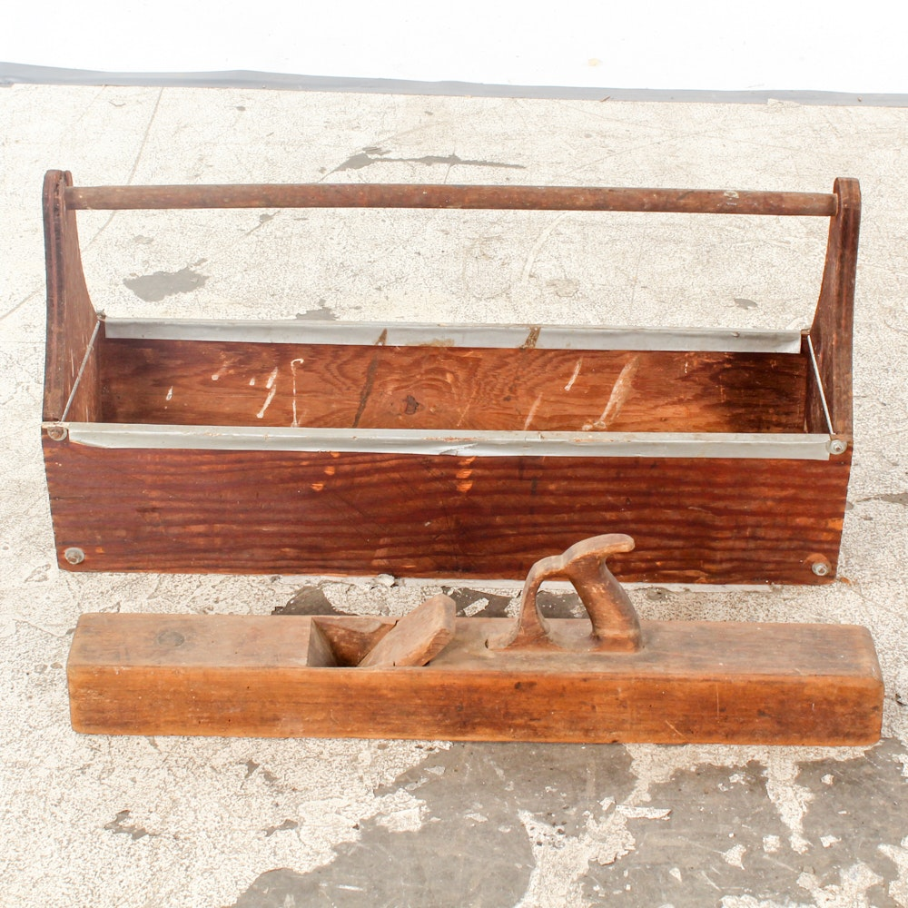 Vintage Wooden Toolbox and Hand Planer