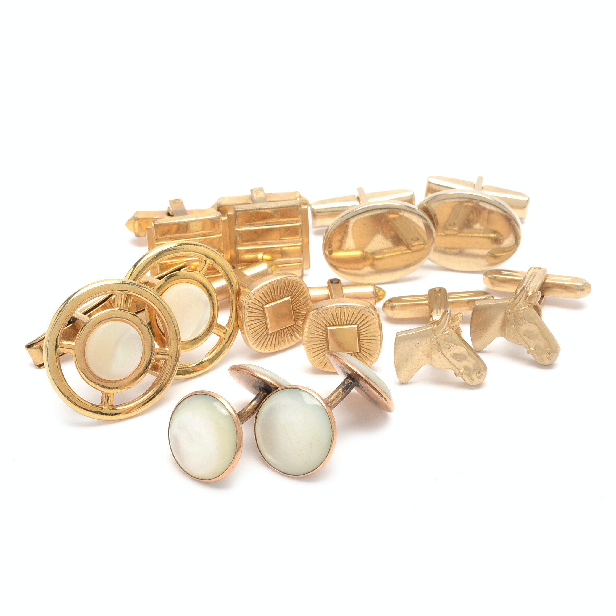 Group of Gold Tone Cufflinks Including Mother of Pearl
