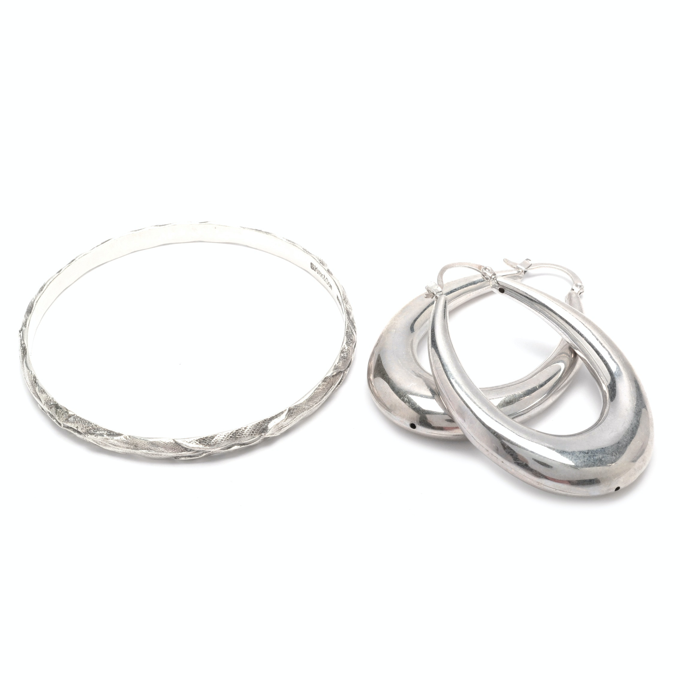 Sterling Silver S Kirk and Son Bangle Bracelet with a Pair of Hoop Earrings