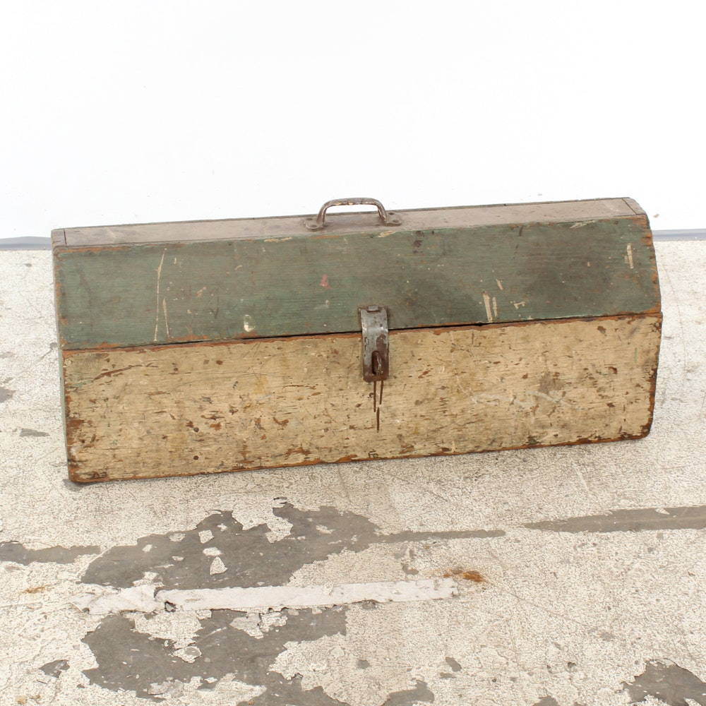 Vintage Wooden Toolbox With Metal Handle and Latch