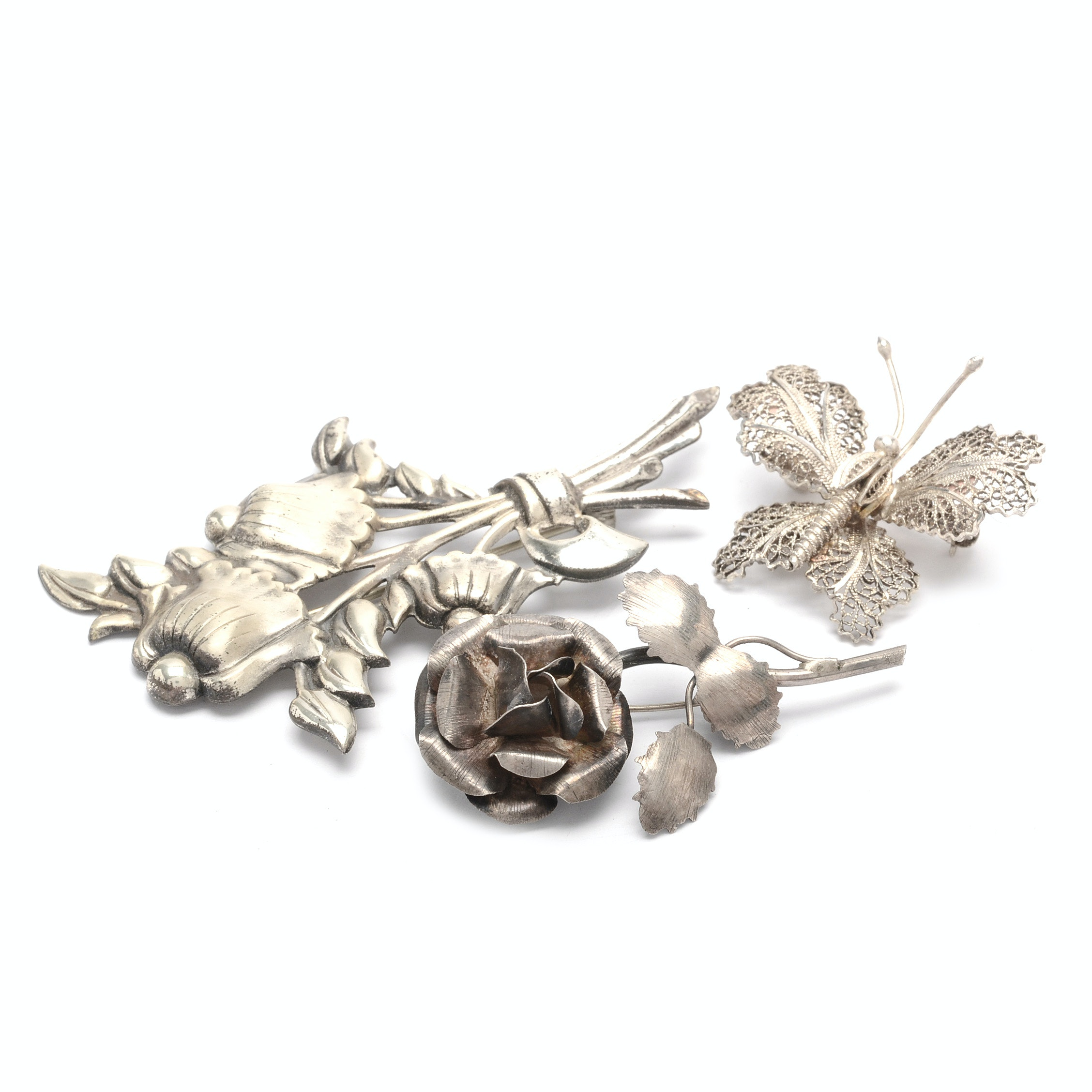 Sterling Silver Floral and Butterfly Signed Brooches
