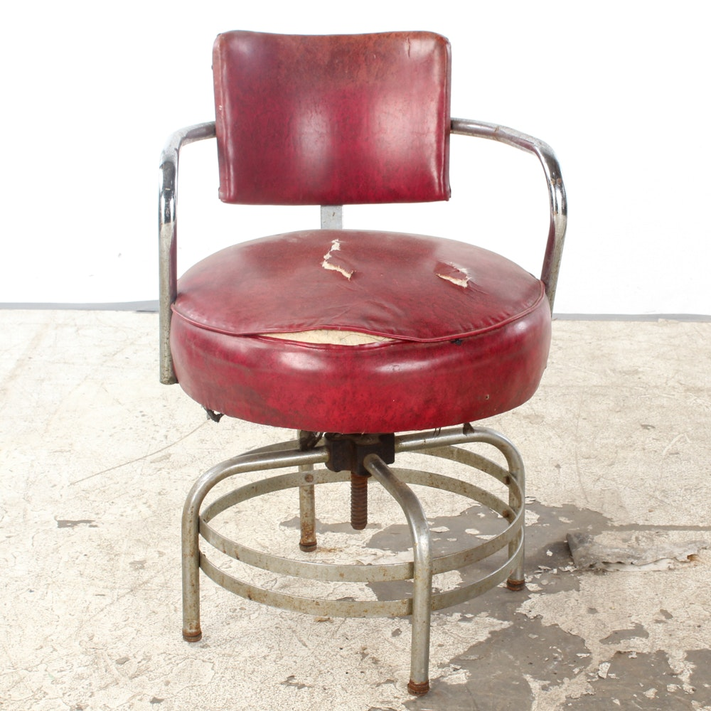 Vintage Red Vinyl Upholstered Diner Style Armchair