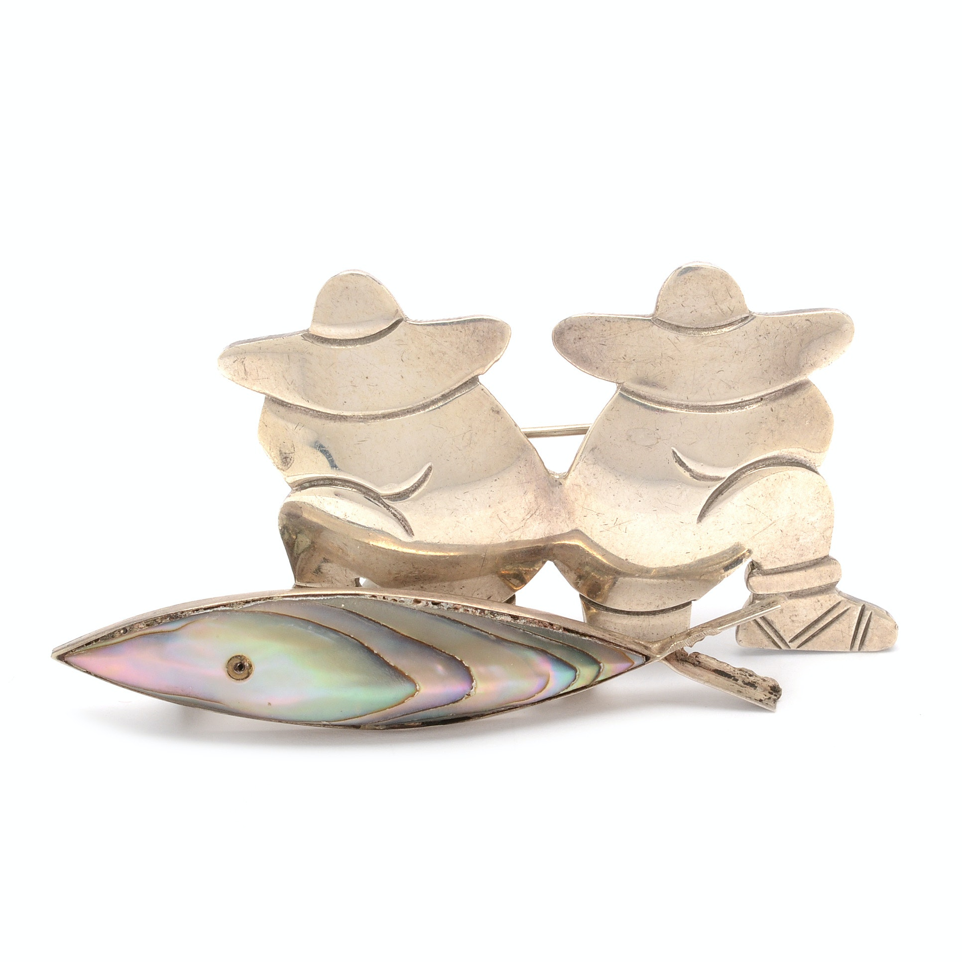 Sterling Silver Taxco Fish and Figural Signed Brooches