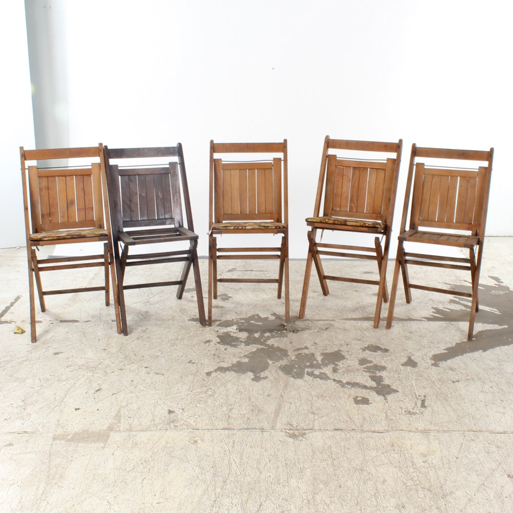 Vintage Wood Slat Folding Chairs ...