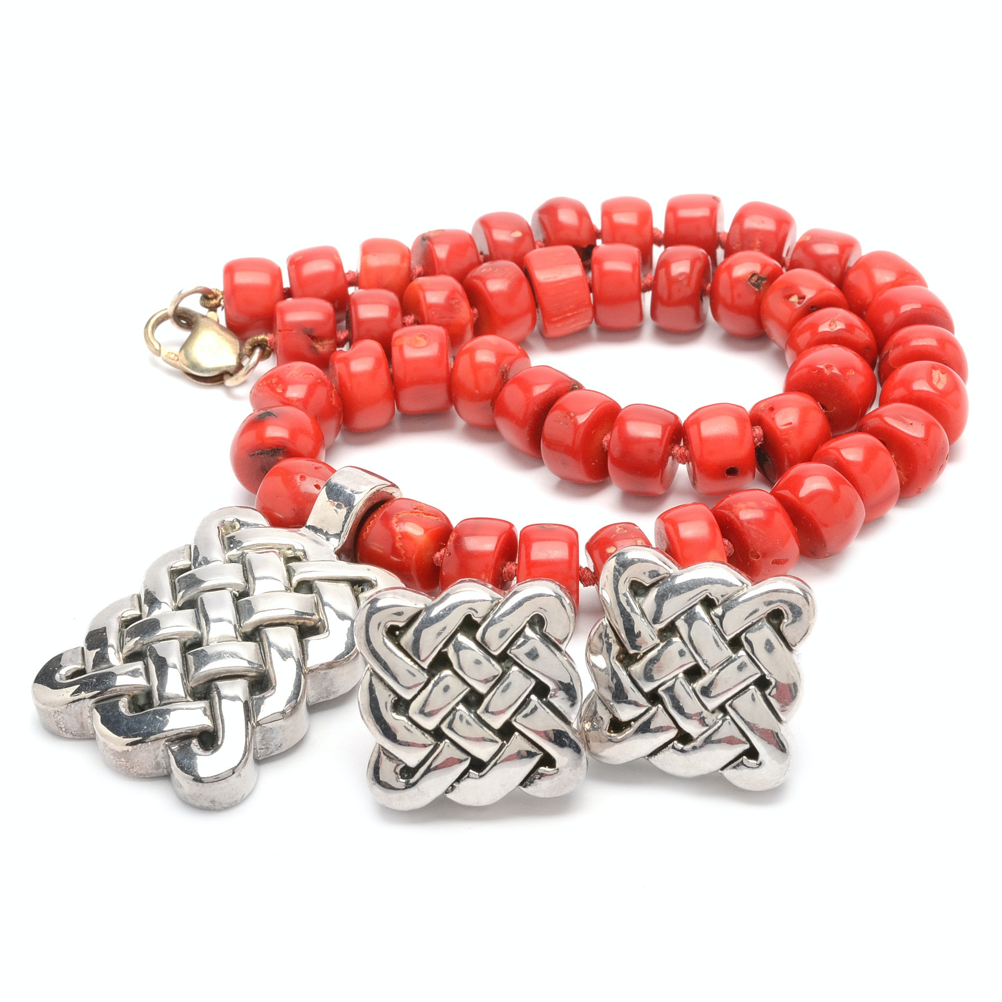 Simon Sebbag Red Coral Sterling Silver Necklace and Earring Set