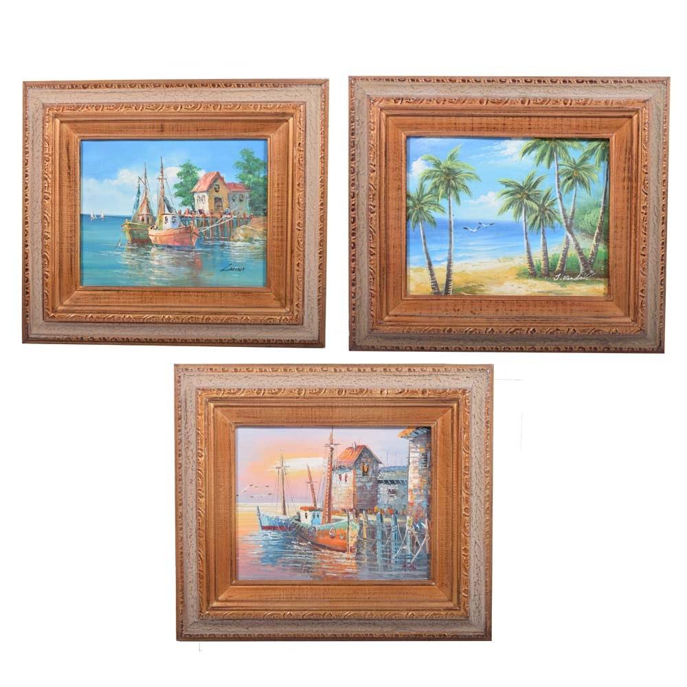 Set of Three Framed Seascape Oil Paintings on Canvas