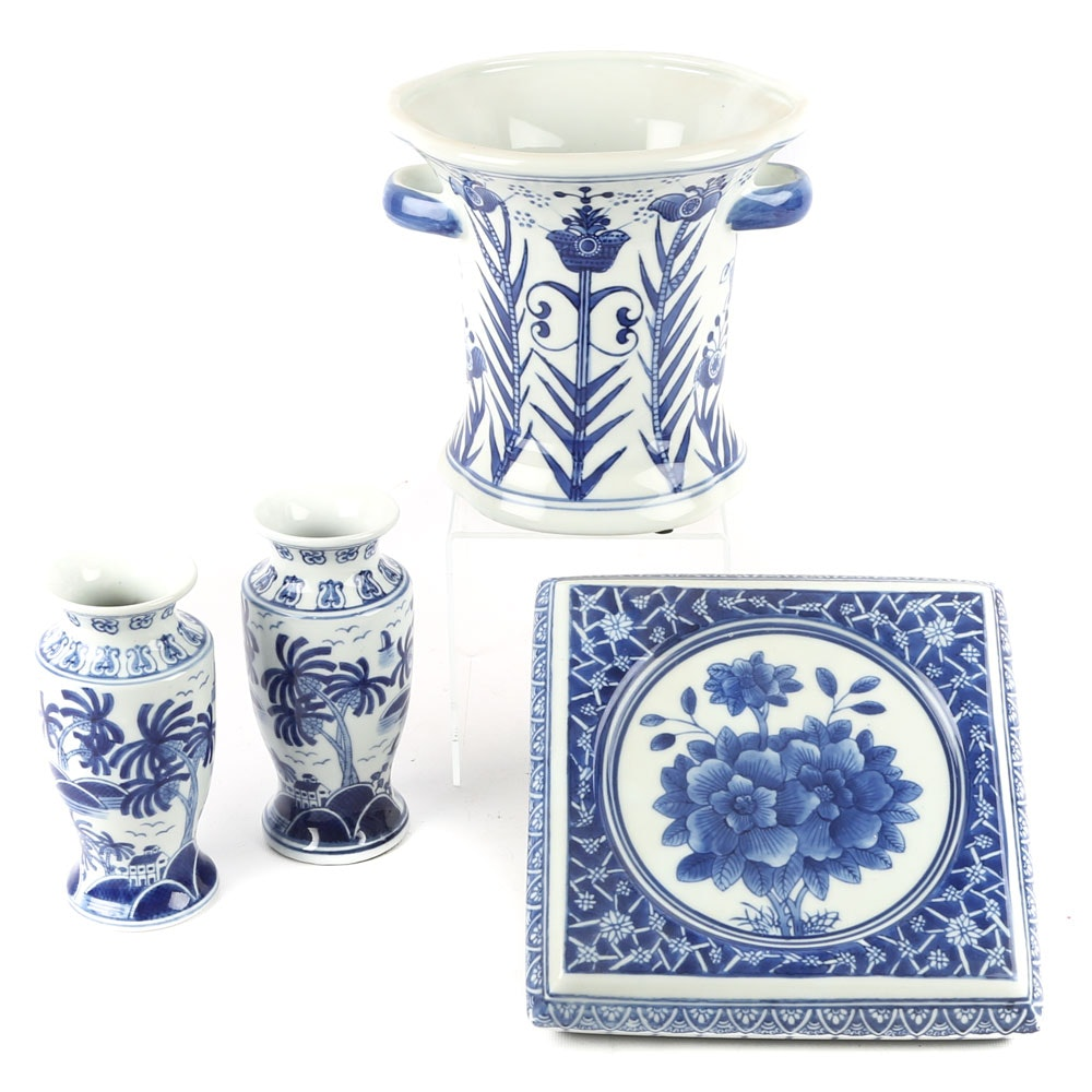 Blue and White Chinese Cache Pot and Vases