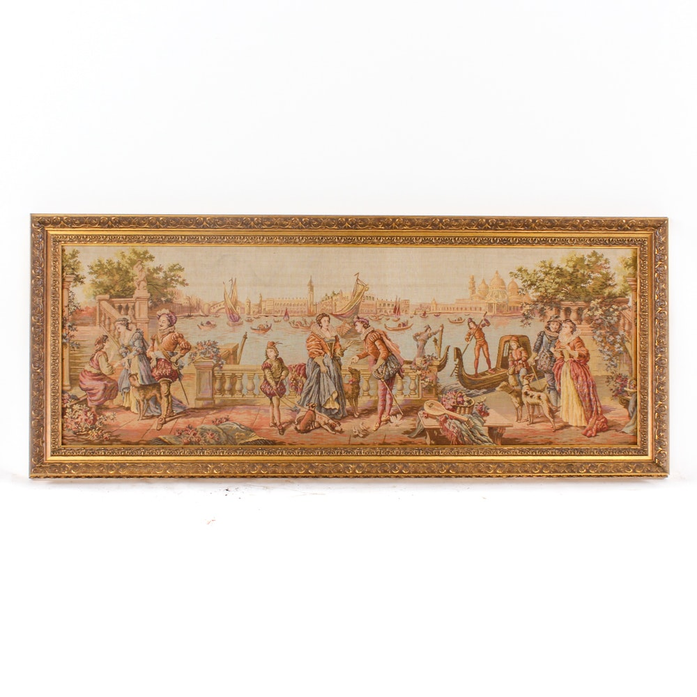 Machine-Woven Tapestry of a Venetian Scene