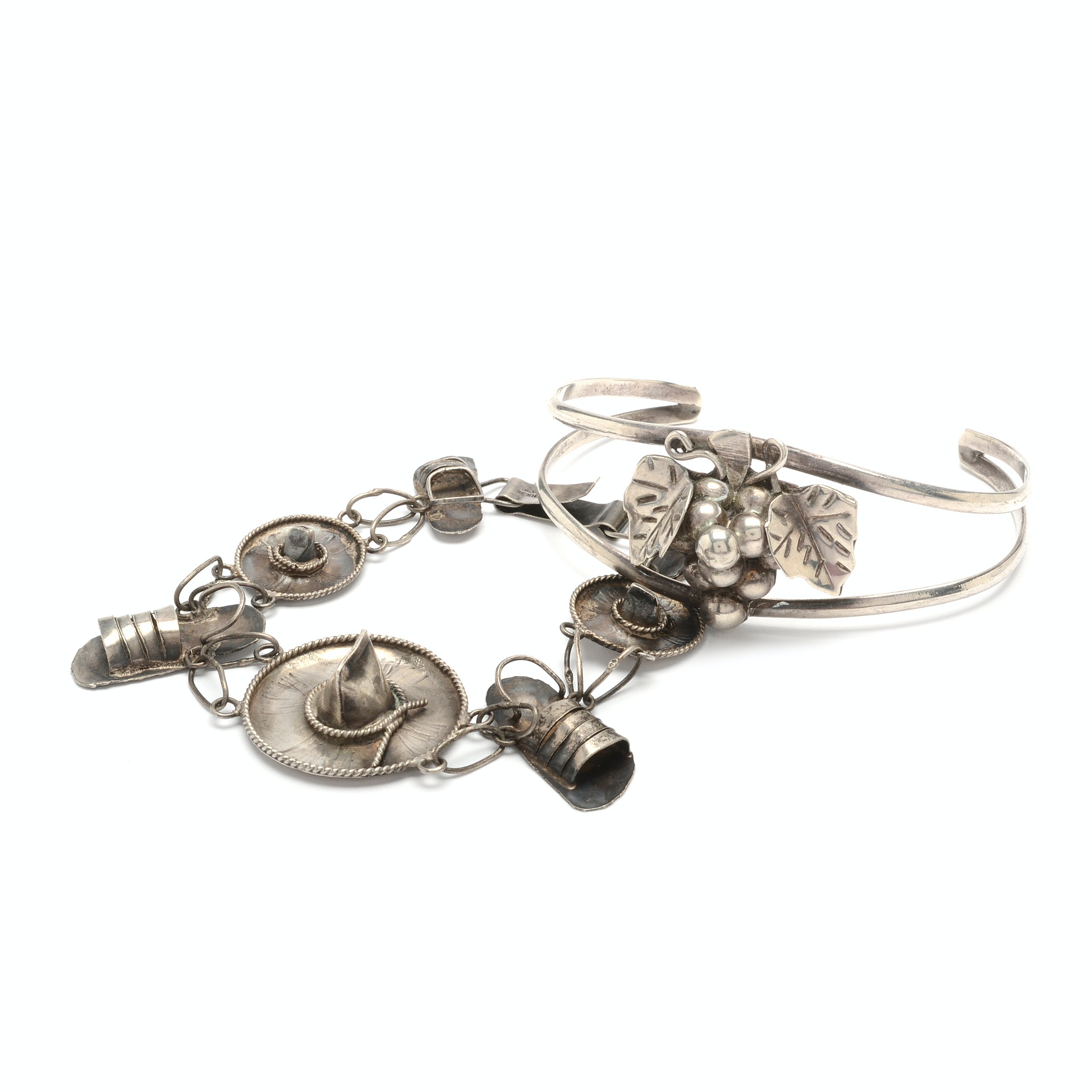 Sterling Silver Taxco Grape Cuff with Handcrafted Charm Bracelet