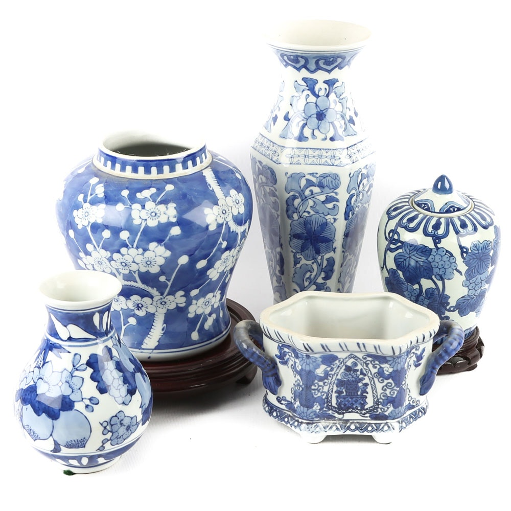Blue and White Chinese Ceramic Vessels