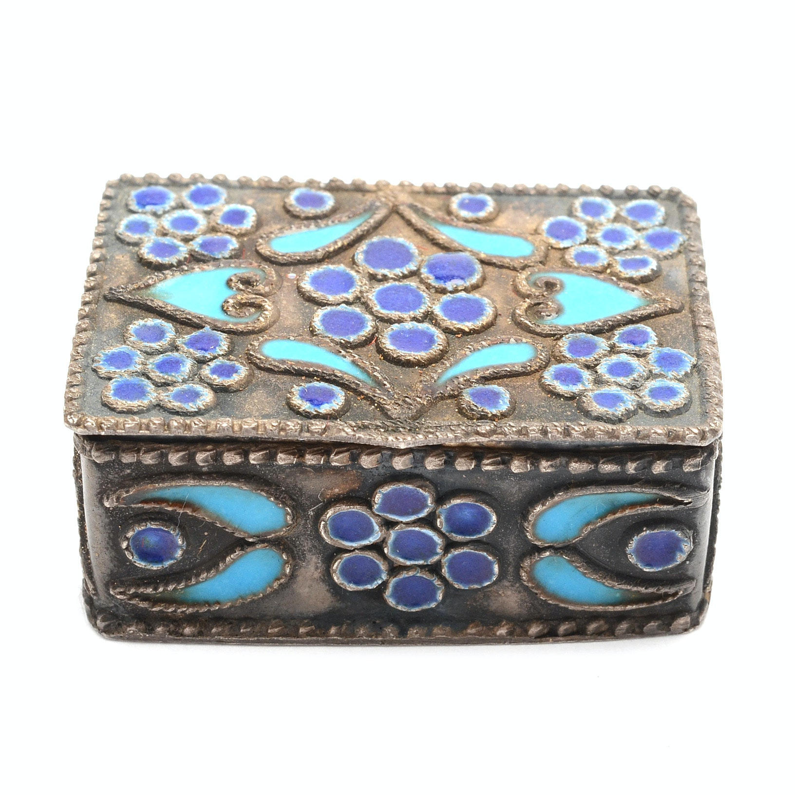 Vintage Sterling Silver Cloisonné Pill Box