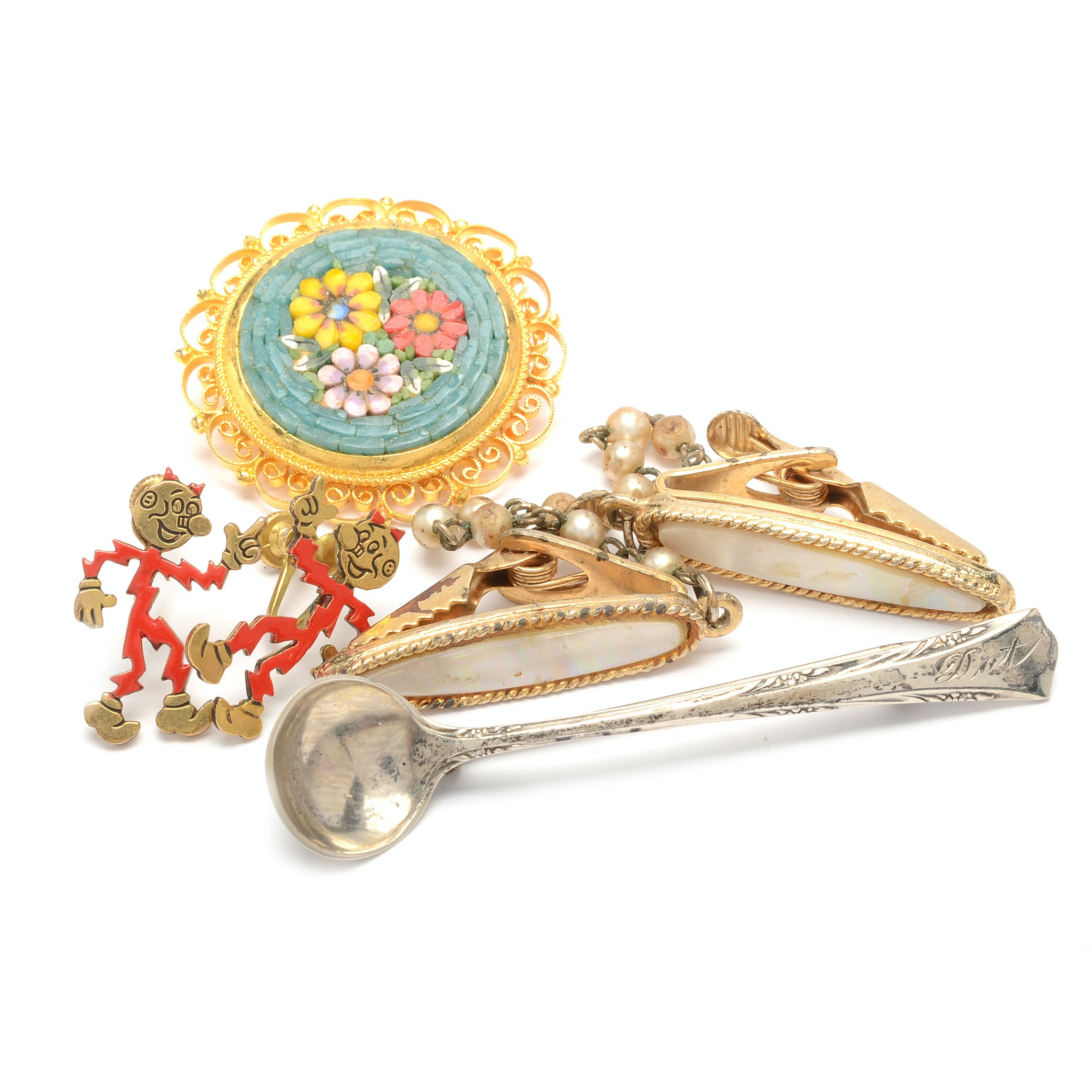 Selection of Gold Tone Jewelry with a Sterling Silver Spoon Pin