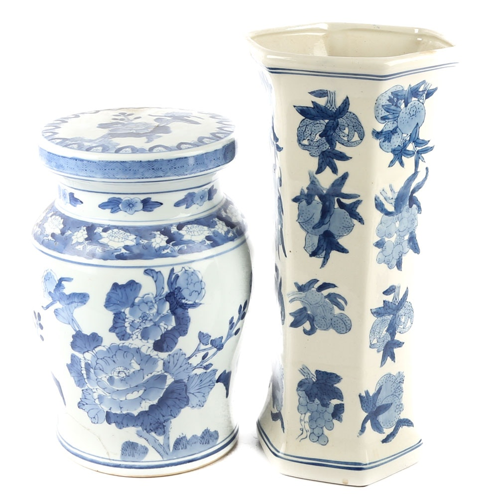 Chinese Ceramic Vase and Pedestal