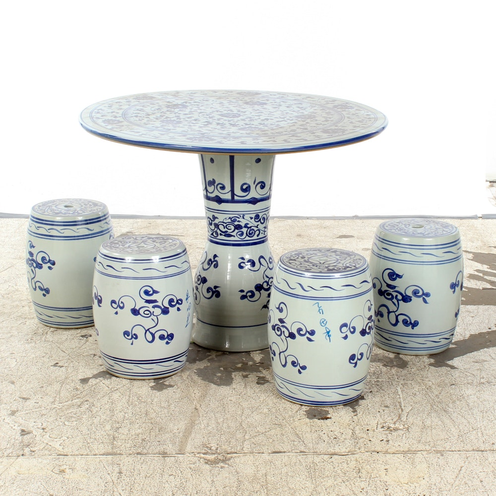 Chinese Porcelain Garden Table and Stools