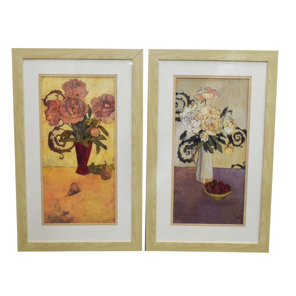 Pair of Framed Abstract Floral Offset Lithographs