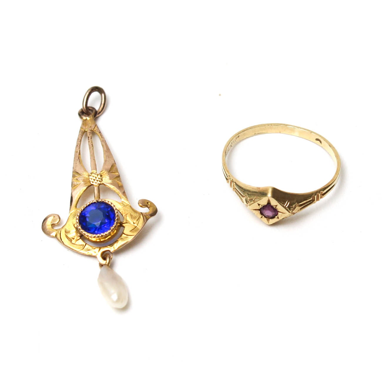 14K Yellow Gold Ring and 10K Pendant