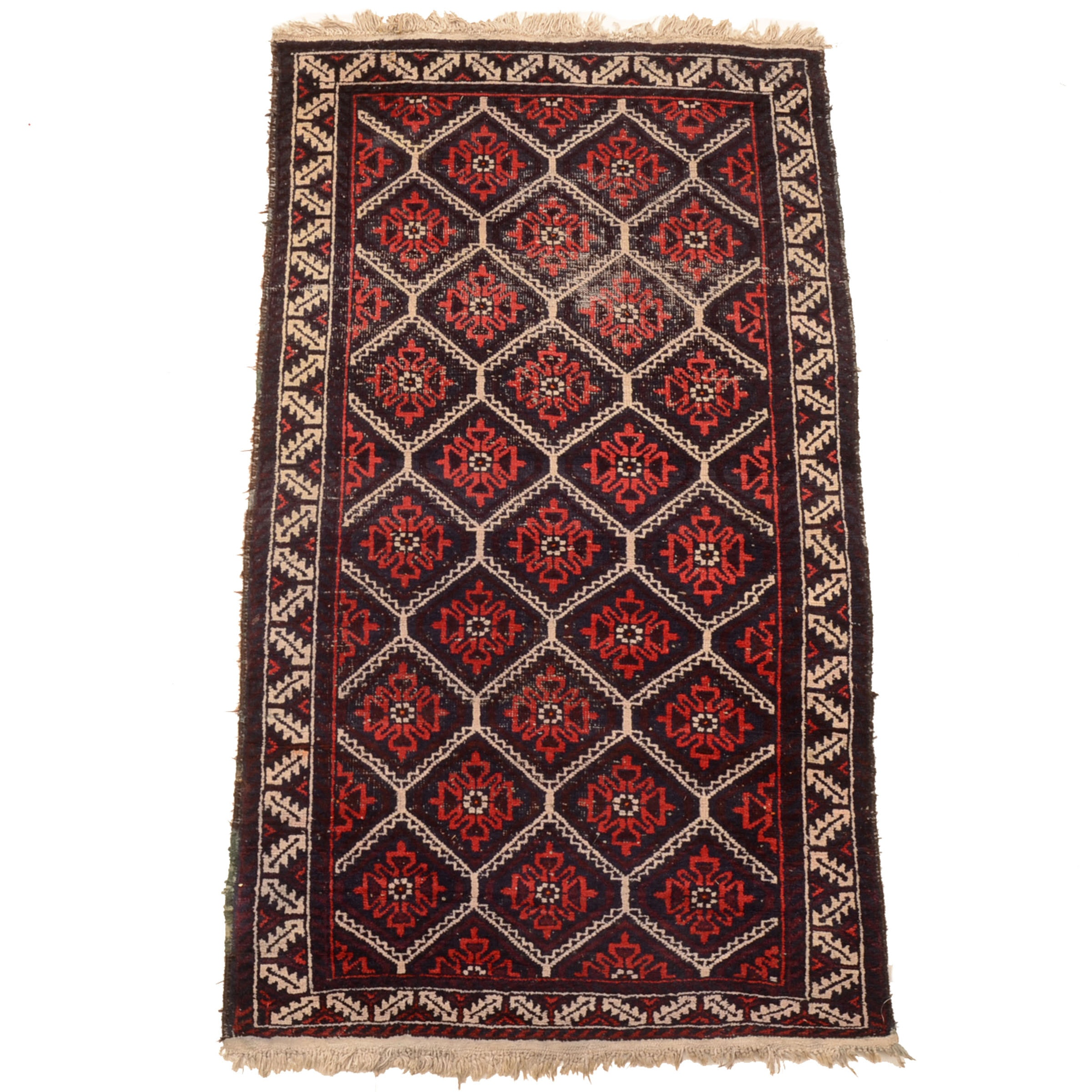 Vintage Hand-Knotted Baluch Area Rug