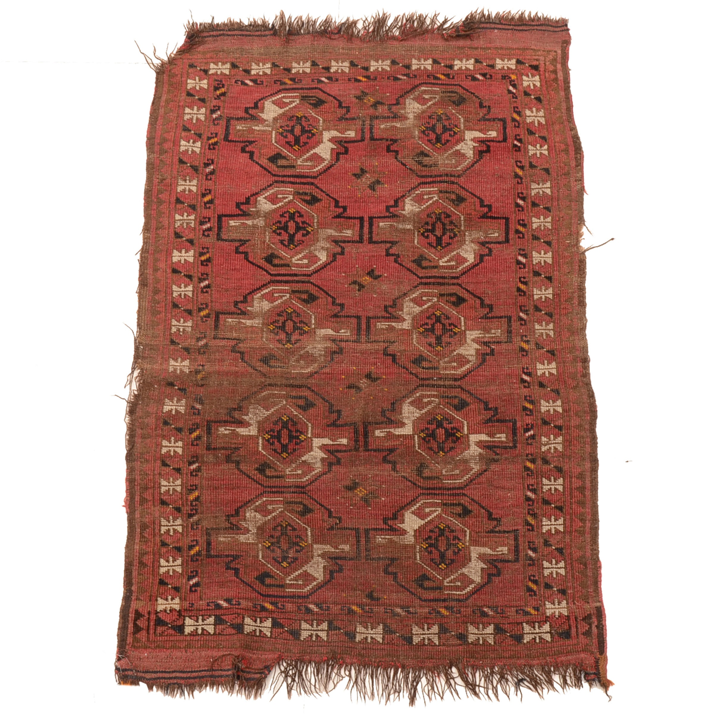 Vintage Hand-Knotted Turkmen Bokhara Wool Accent Rug