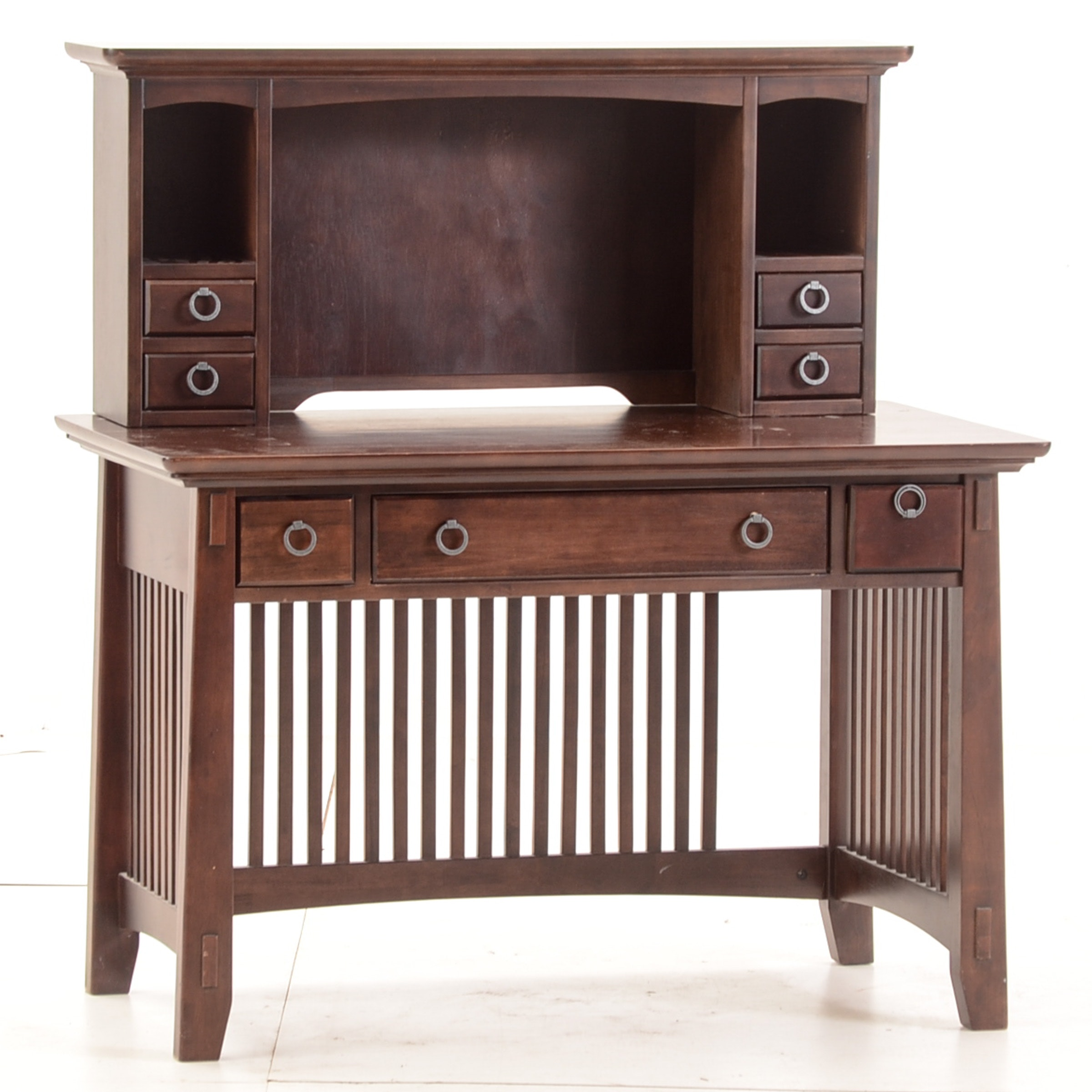 Mission Style Writing Table with Hutch