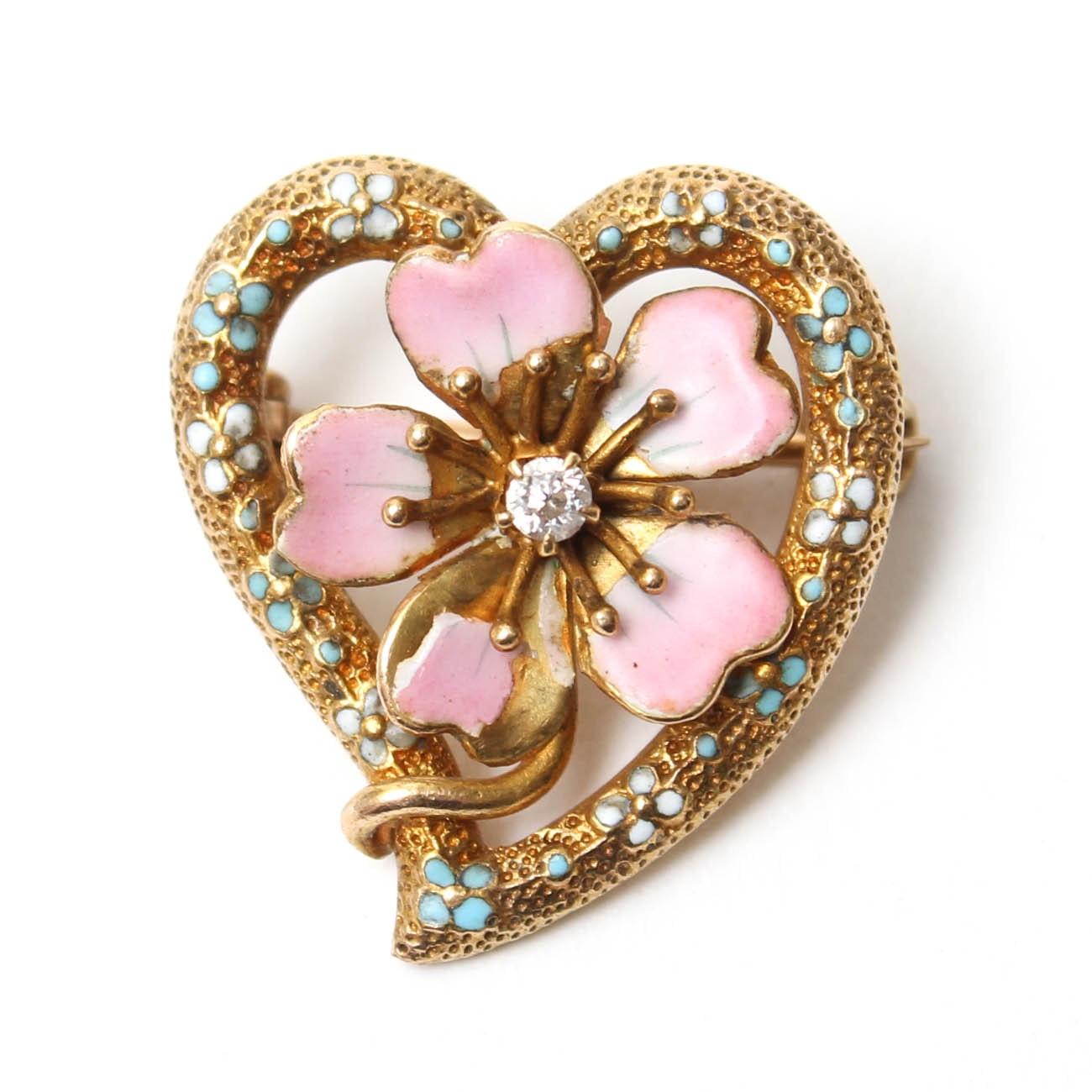 Krementz Art Nouveau 14K Yellow Gold Diamond Brooch
