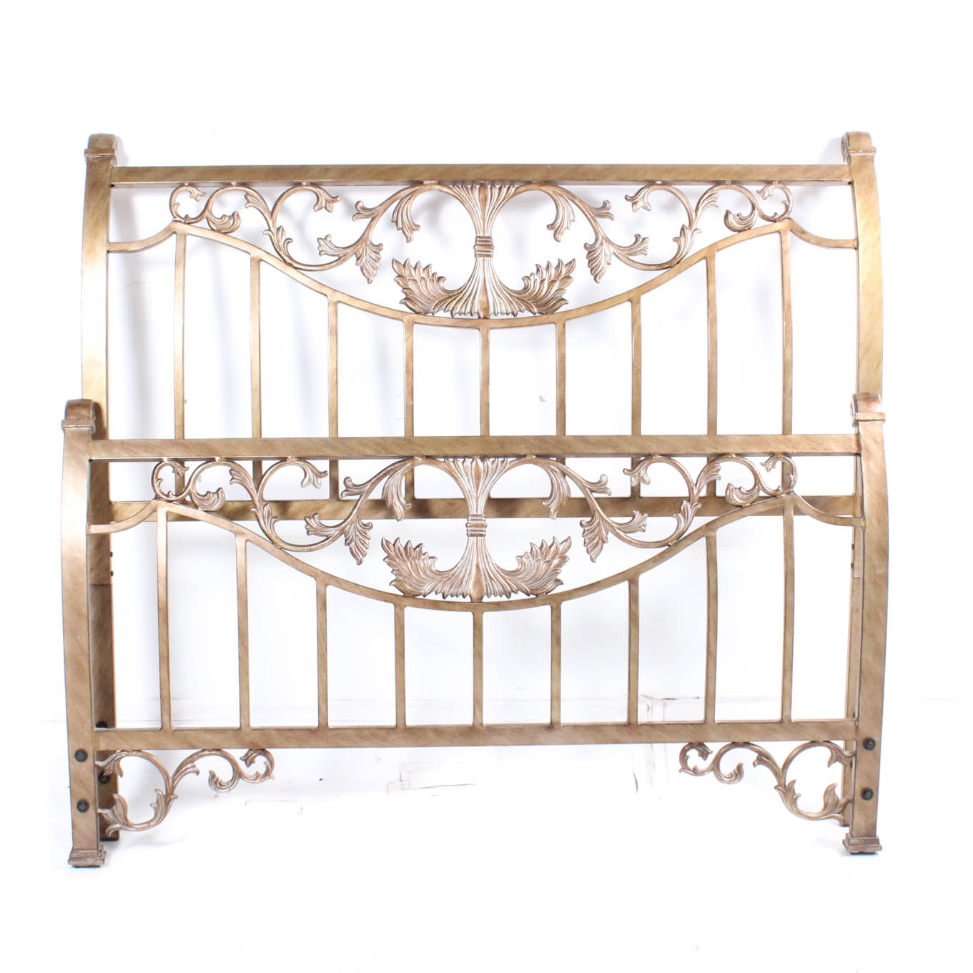 Decorative Antiqued Finish Metal Double Bed