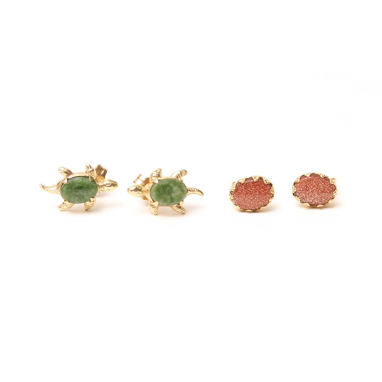 14K Yellow Gold Nephrite and Goldstone Glass Stud Earrings
